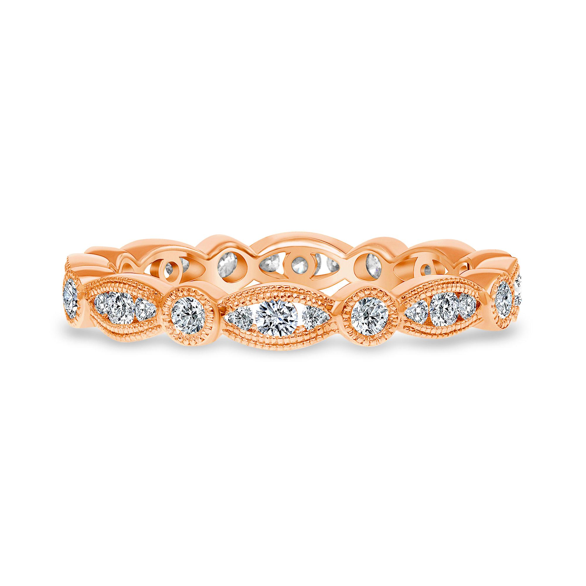 vintage diamond band ring rose gold