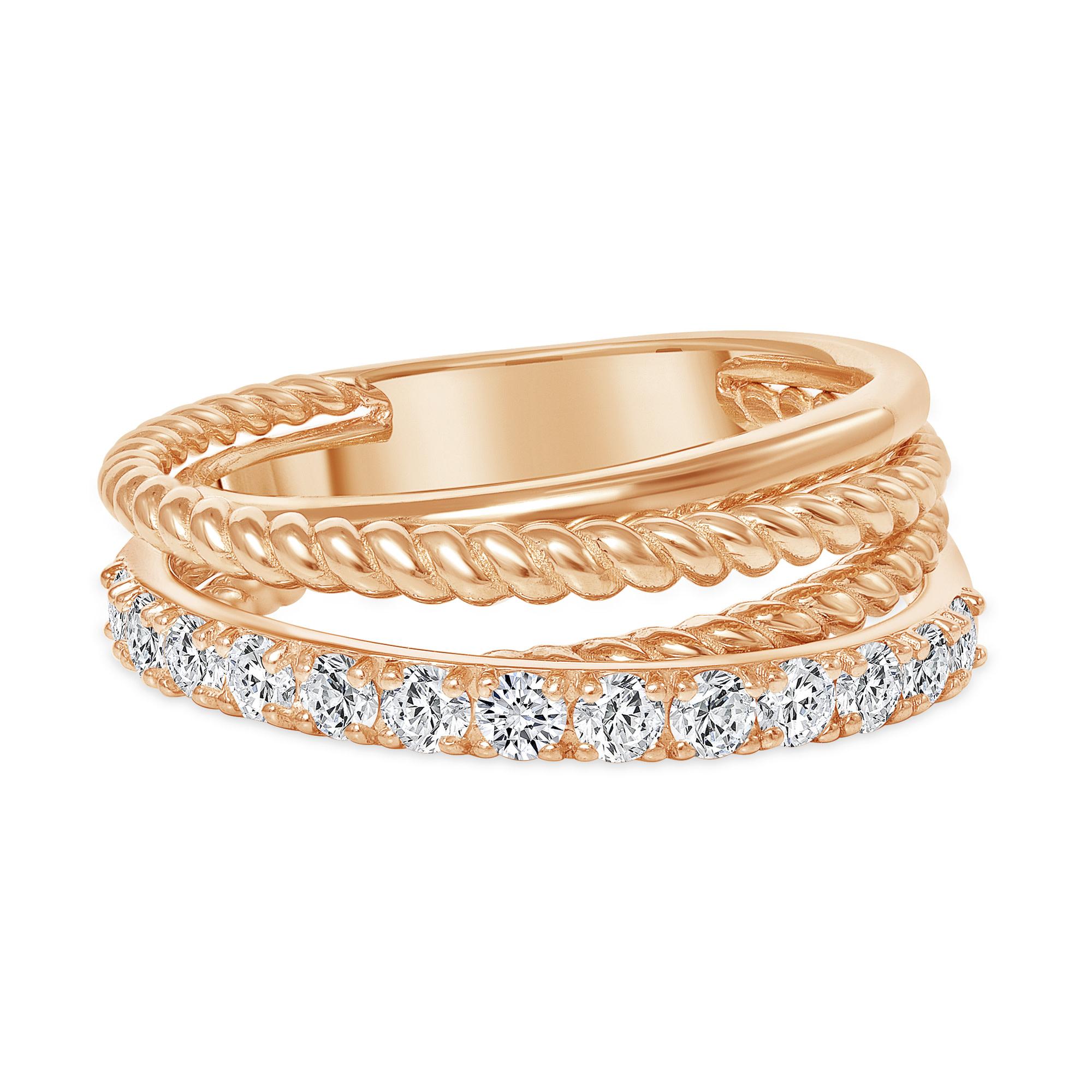 rose gold layered diamond wedding ring