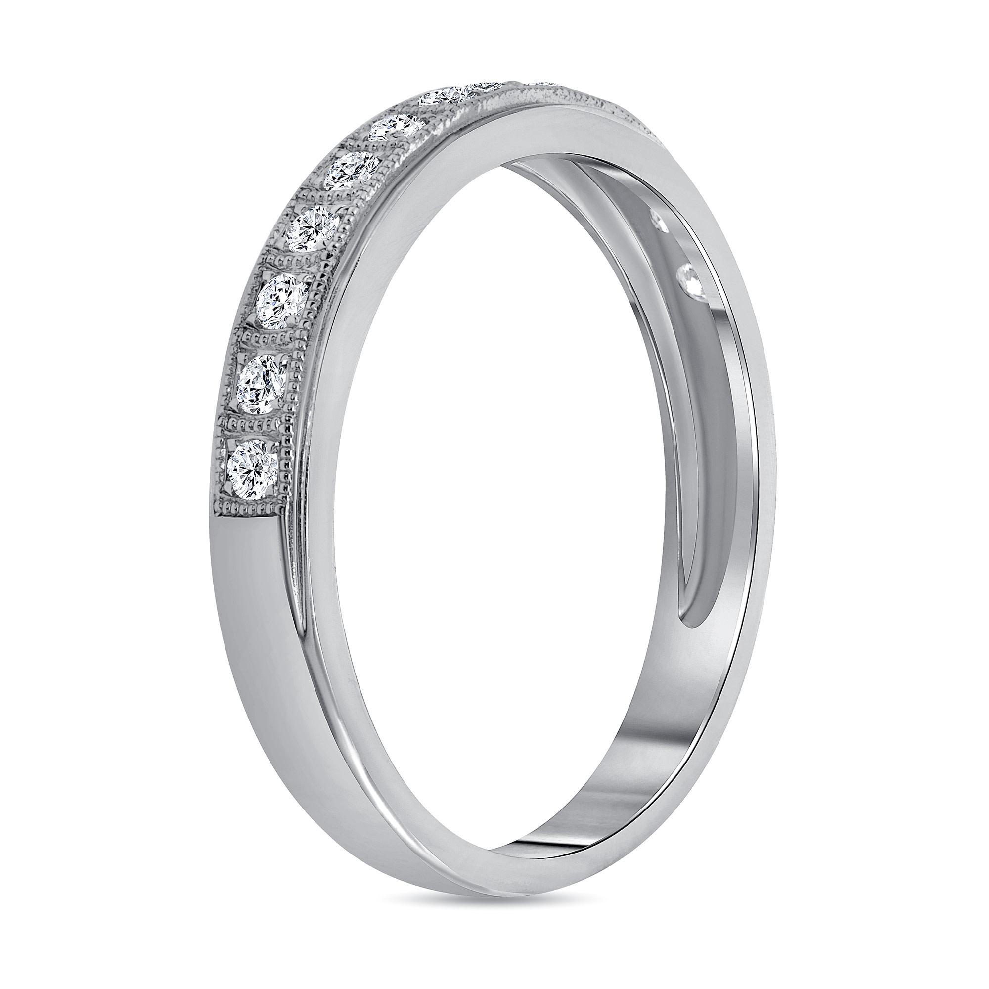 milgrain diamond wedding ring white gold