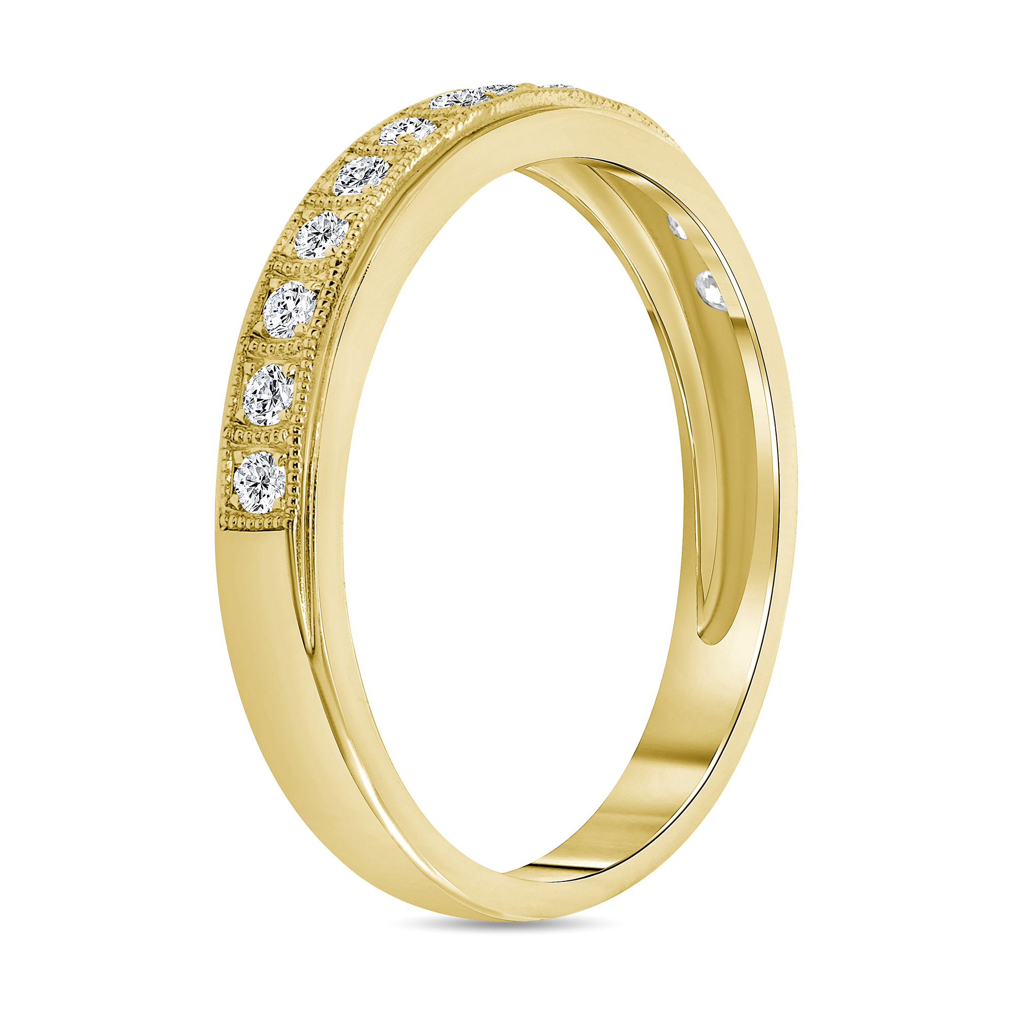 milgrain diamond wedding ring gold