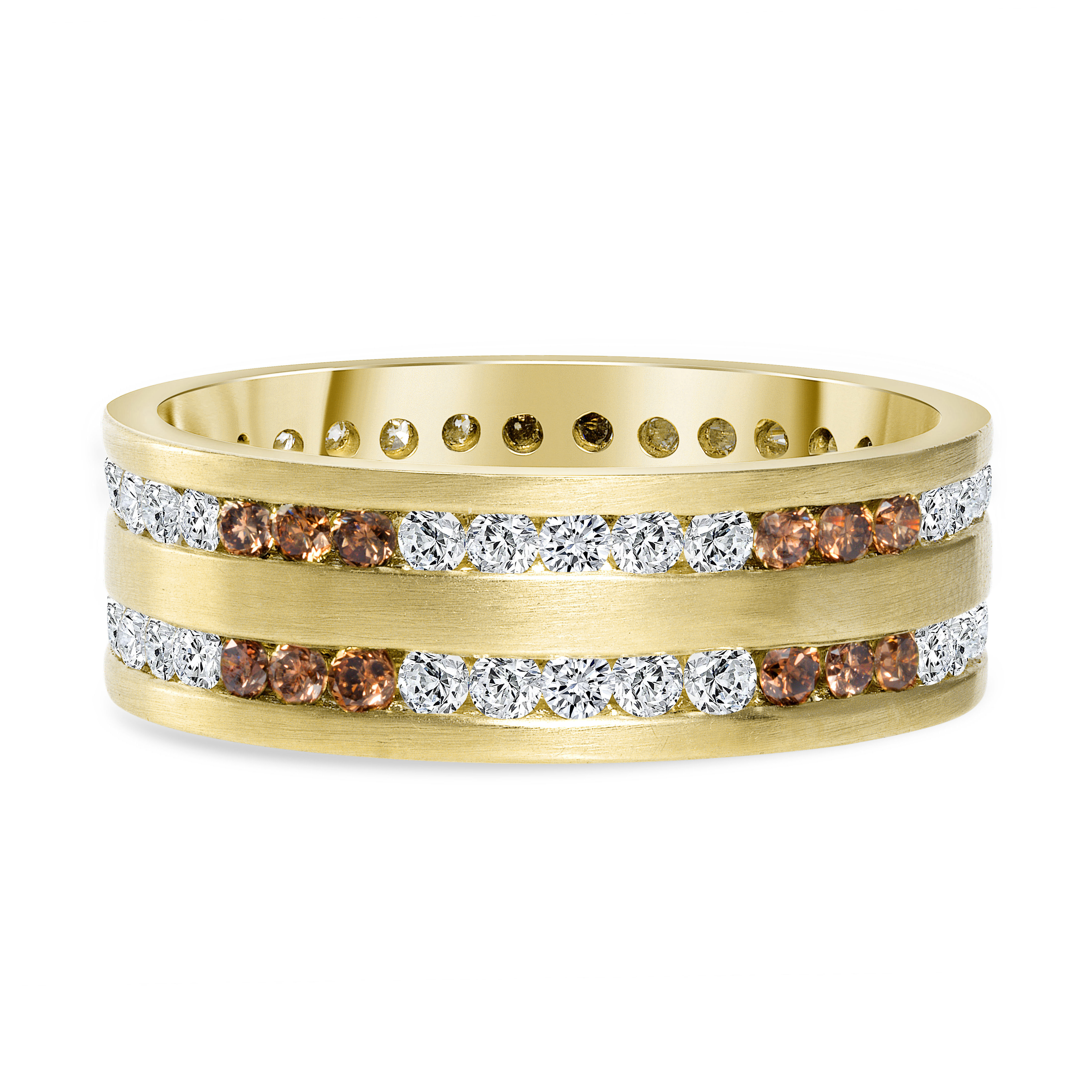 channel set round diamond band | chocolate diamond band