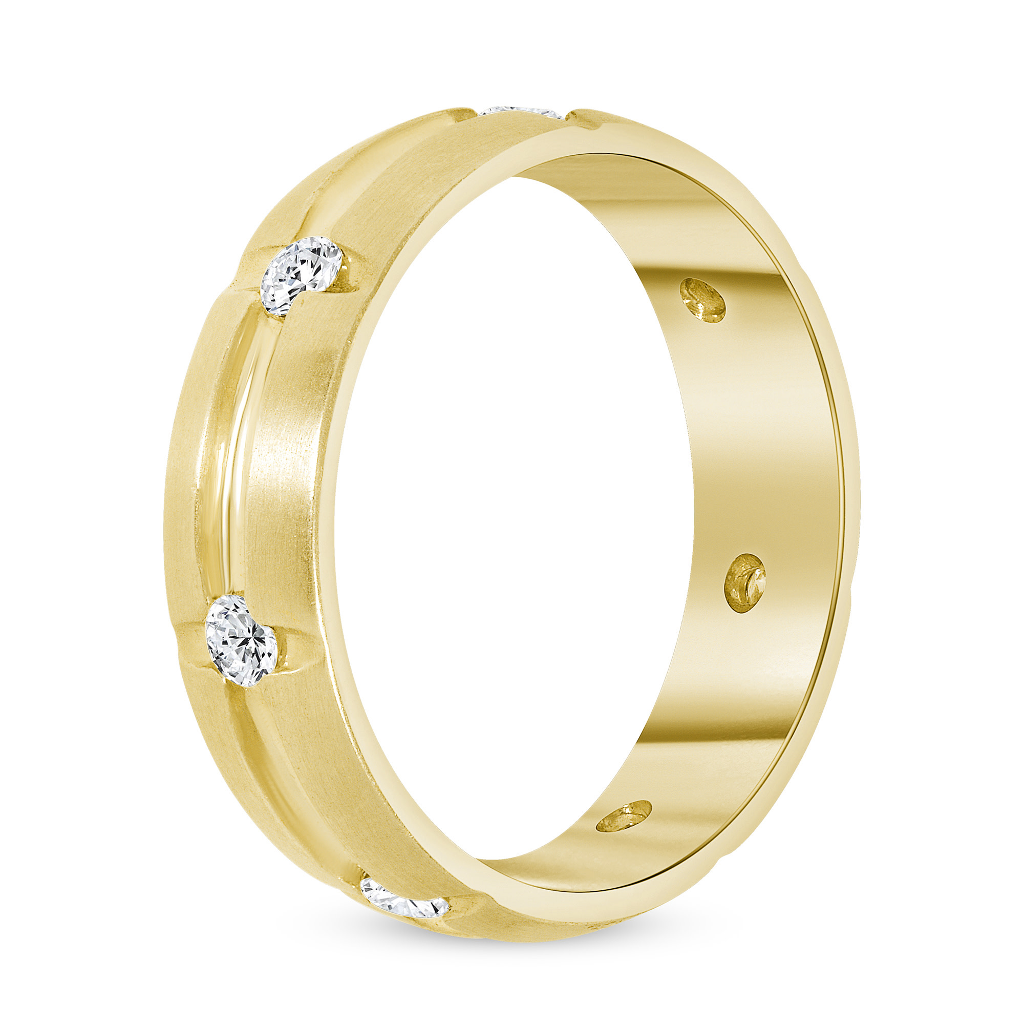 mens diamond band gold