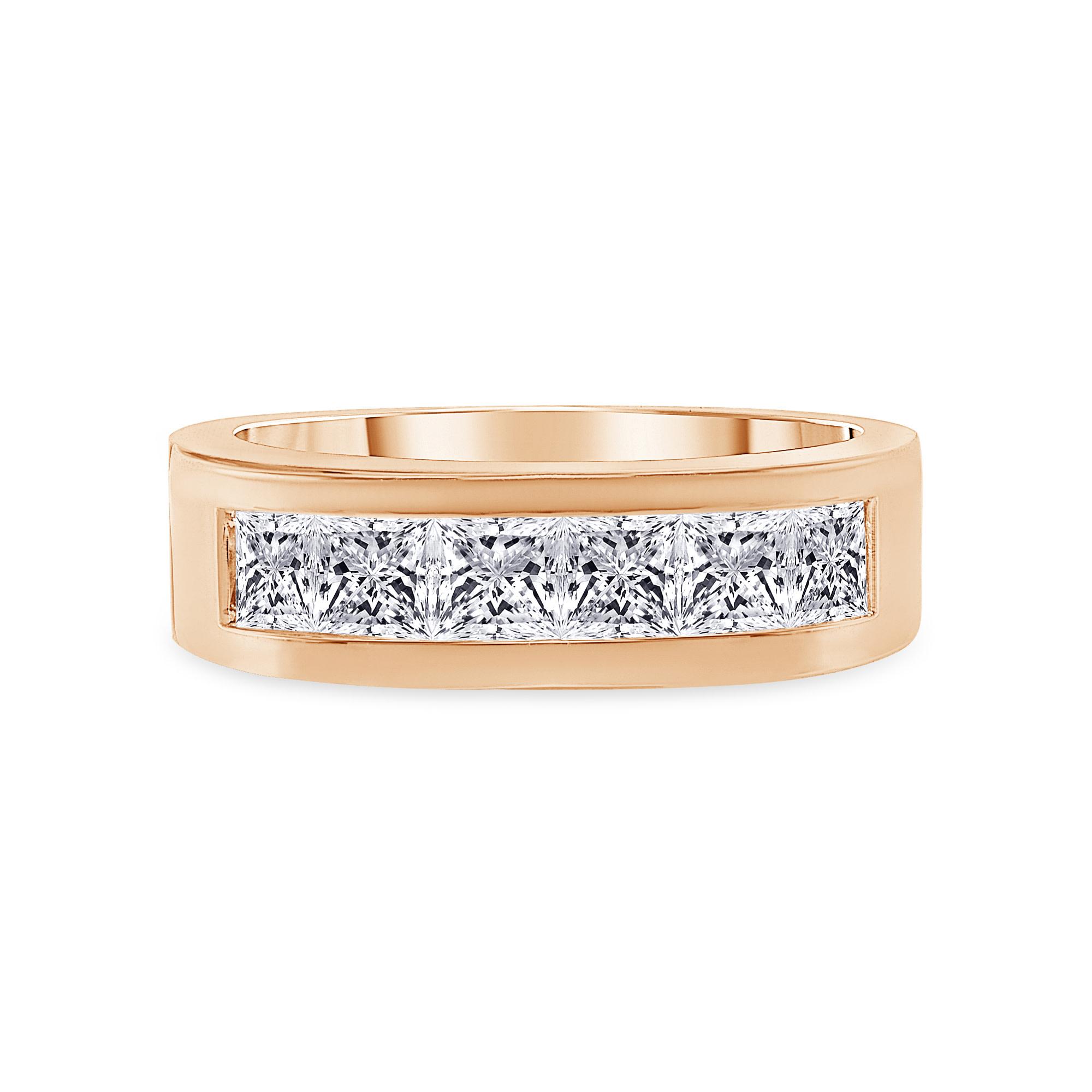 multi diamond unique band rose gold