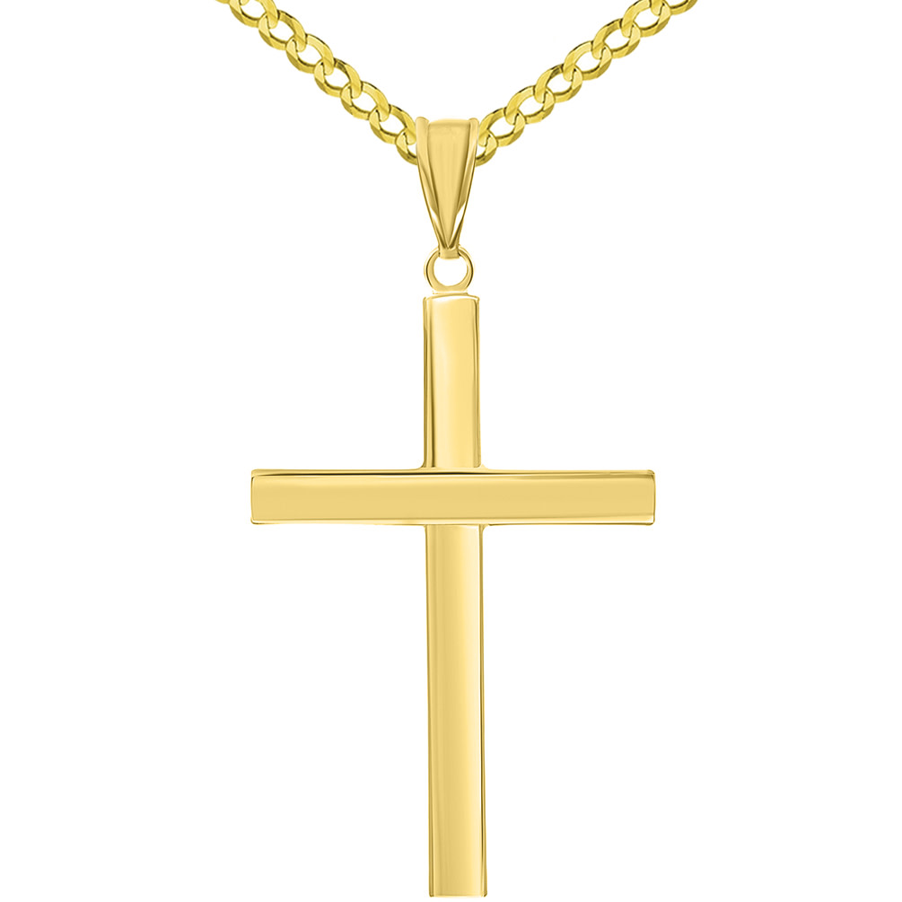 Simple Religious Cross Pendant with Cuban Chain Necklace