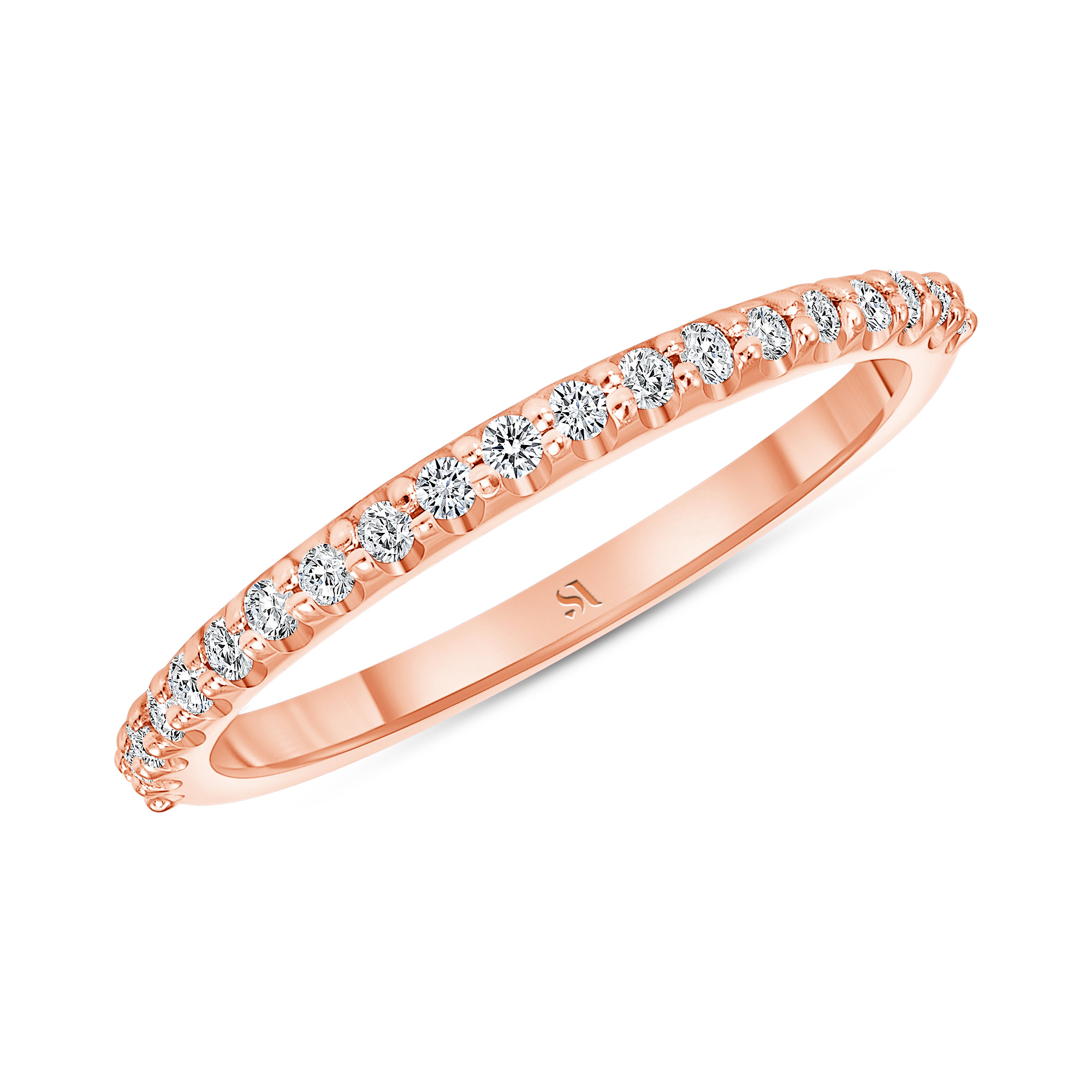 dainty diamond rose gold band | Sabrina A Inc