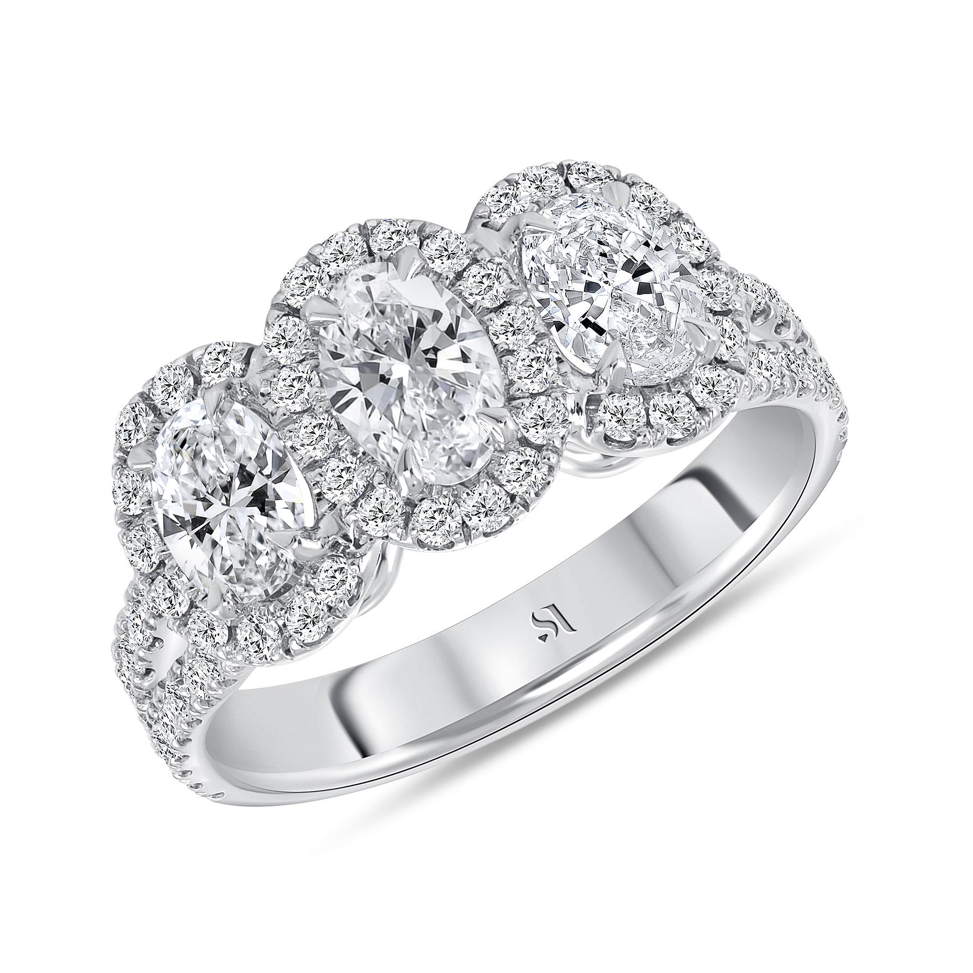 3 stone halo engagement ring white gold