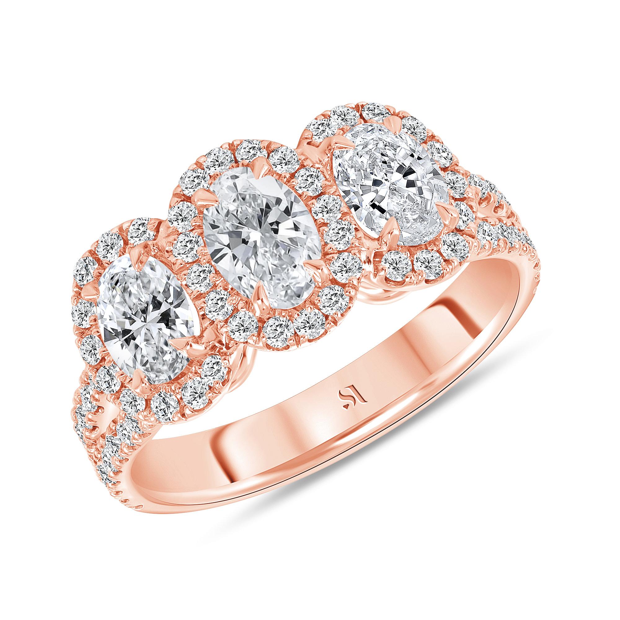 3 stone halo engagement ring rose gold