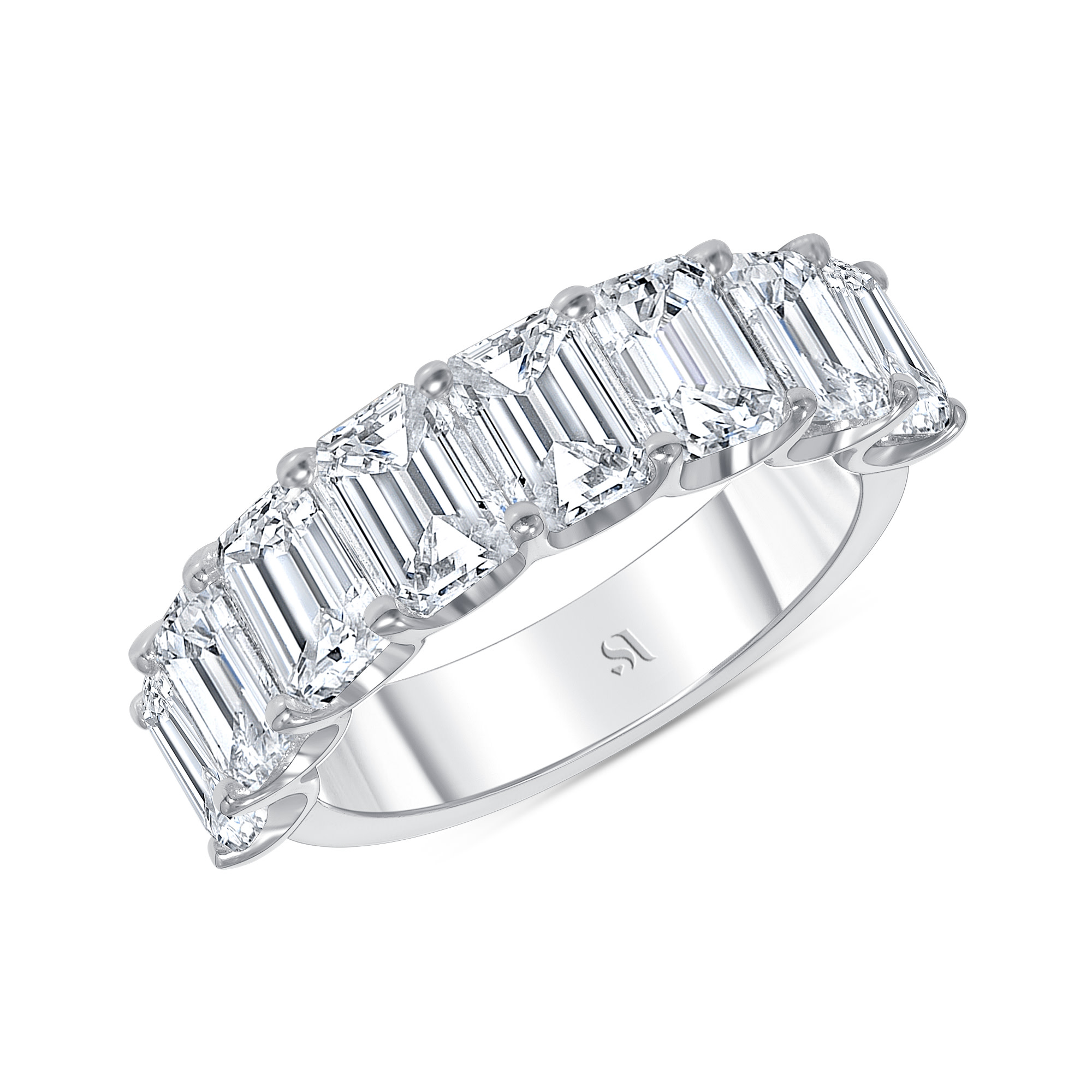 emerald cut diamond half eternity band white gold
