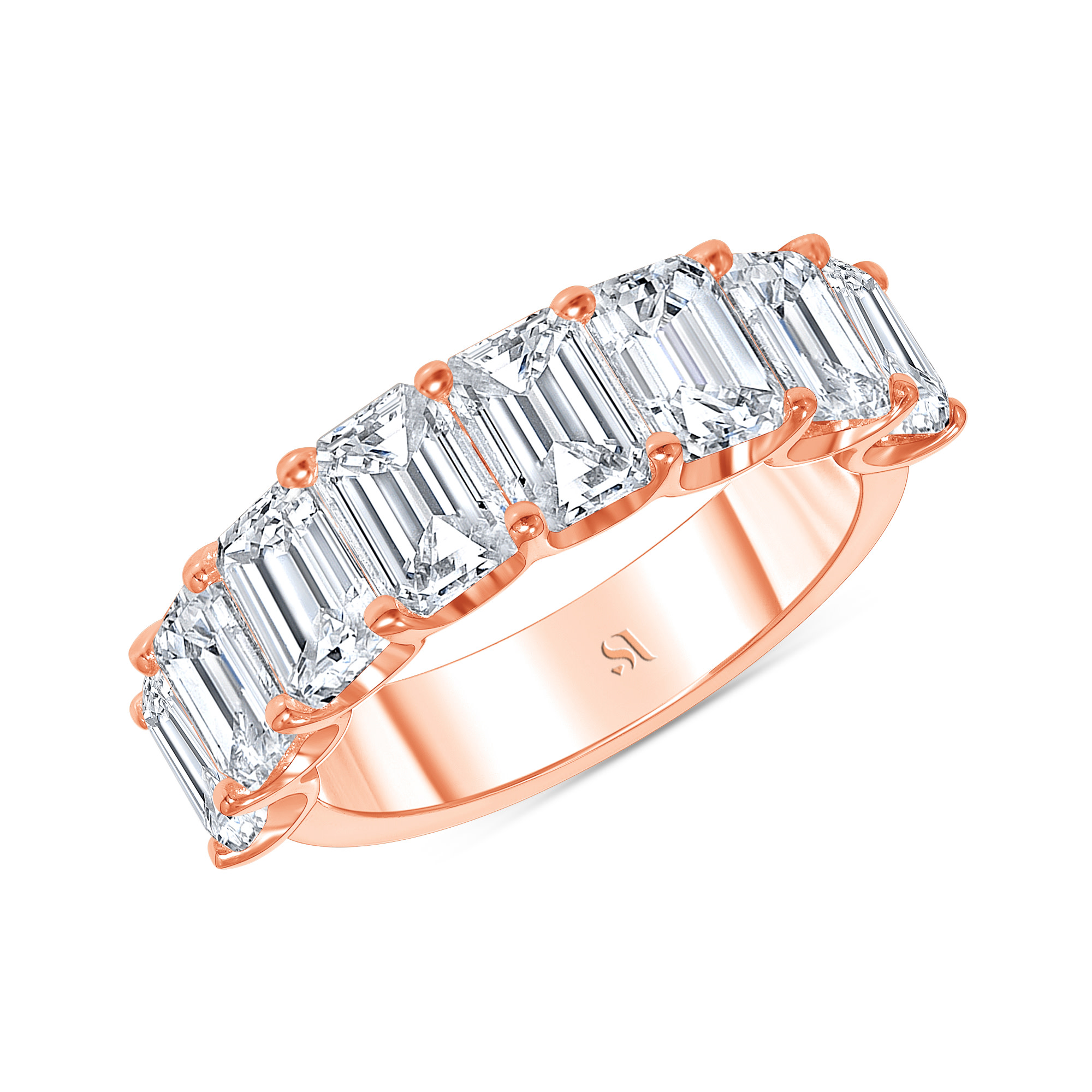 emerald cut diamond half eternity band rose gold