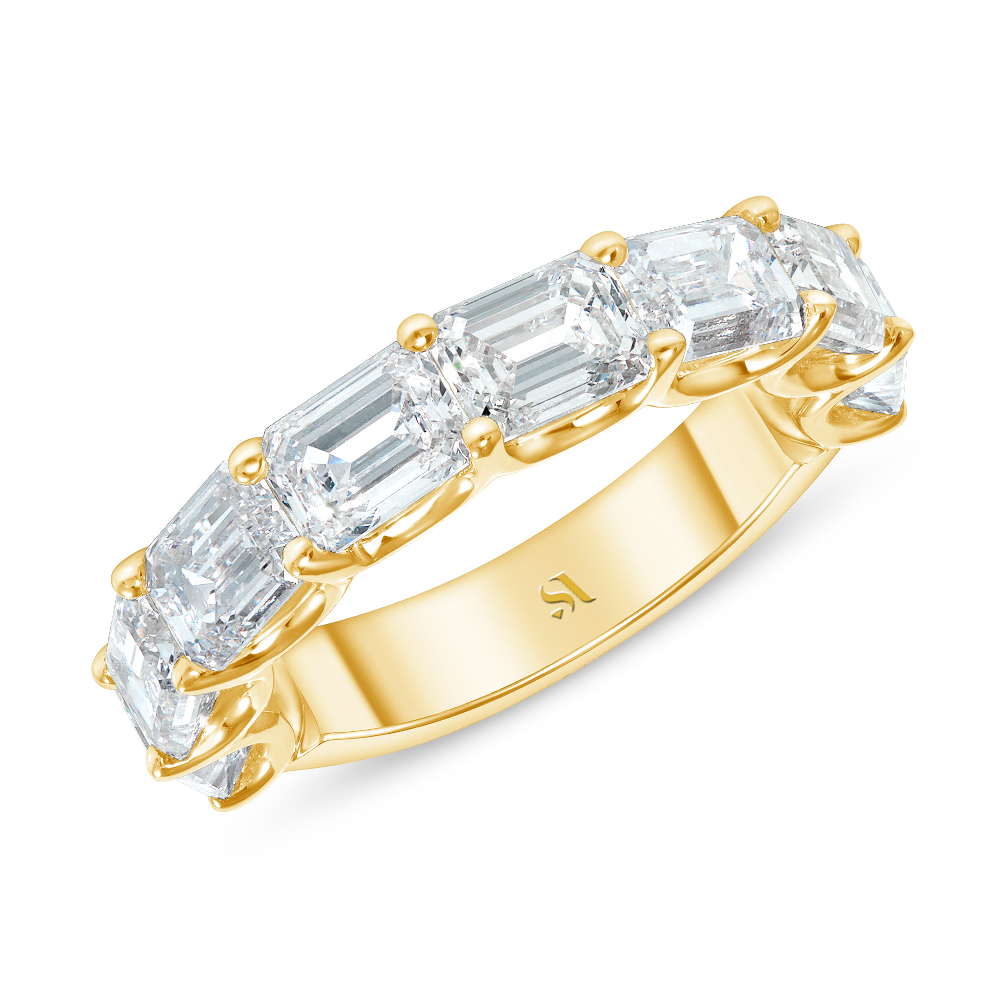 Emerald cut diamond East west set on 18k yellow gold Halfway Eternity Band