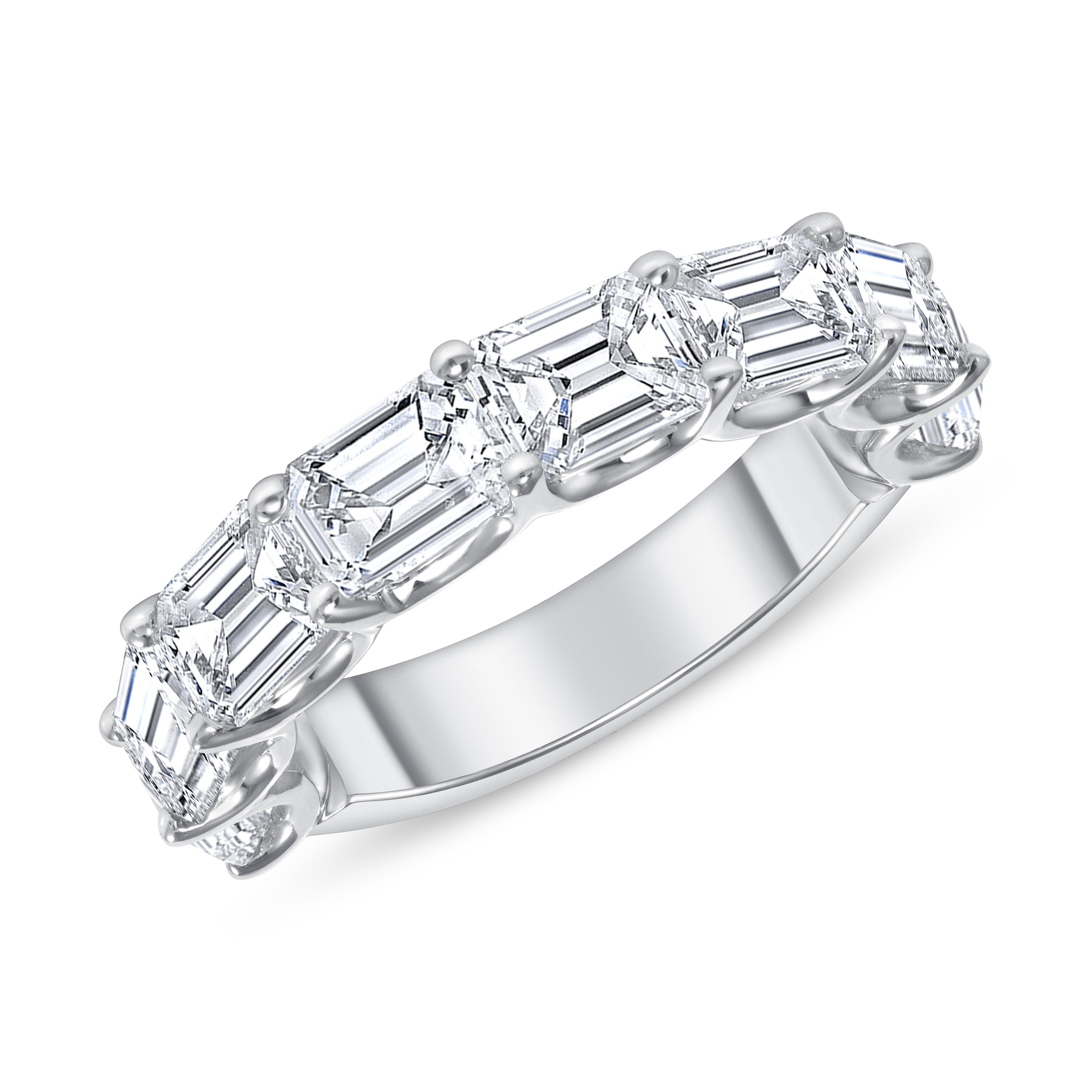 Emerald cut diamond East west set on 18k white gold Halfway Eternity Band