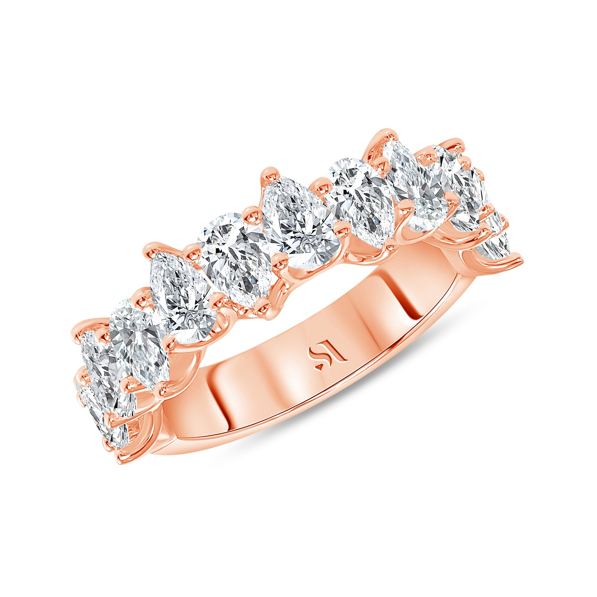 half eternity pear diamond band rose gold