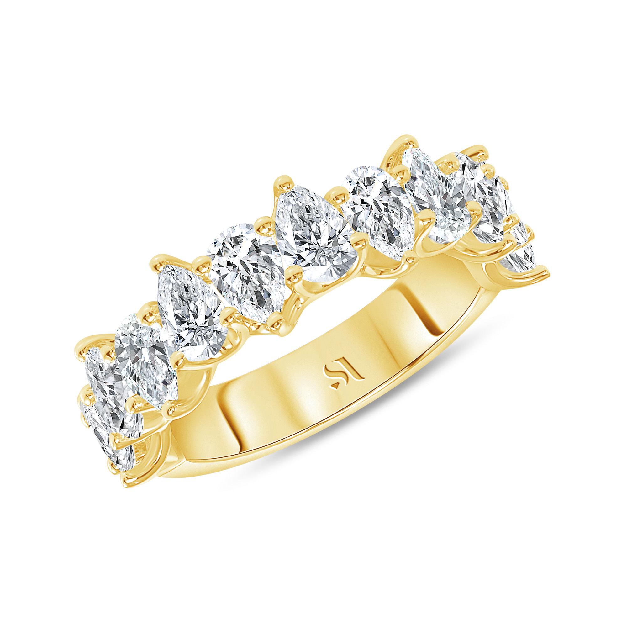half eternity pear diamond band yellow gold