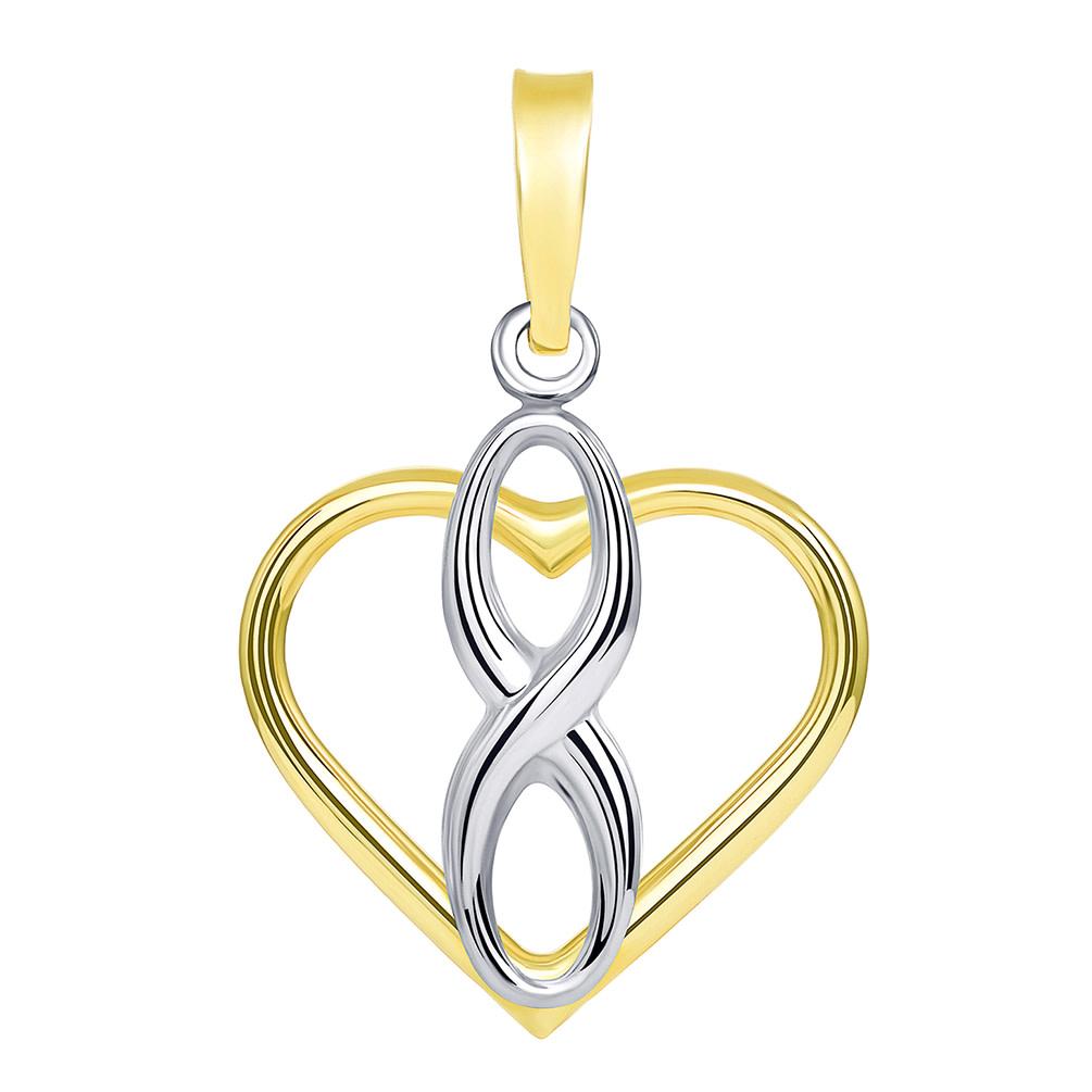 14k Infinity Sign in Open Heart Pendant