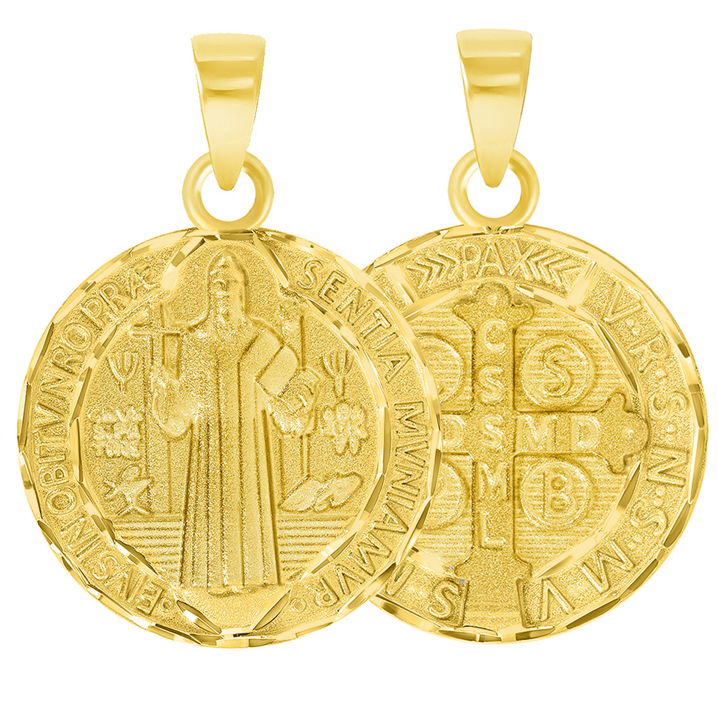 14k gold St Benedict pendant