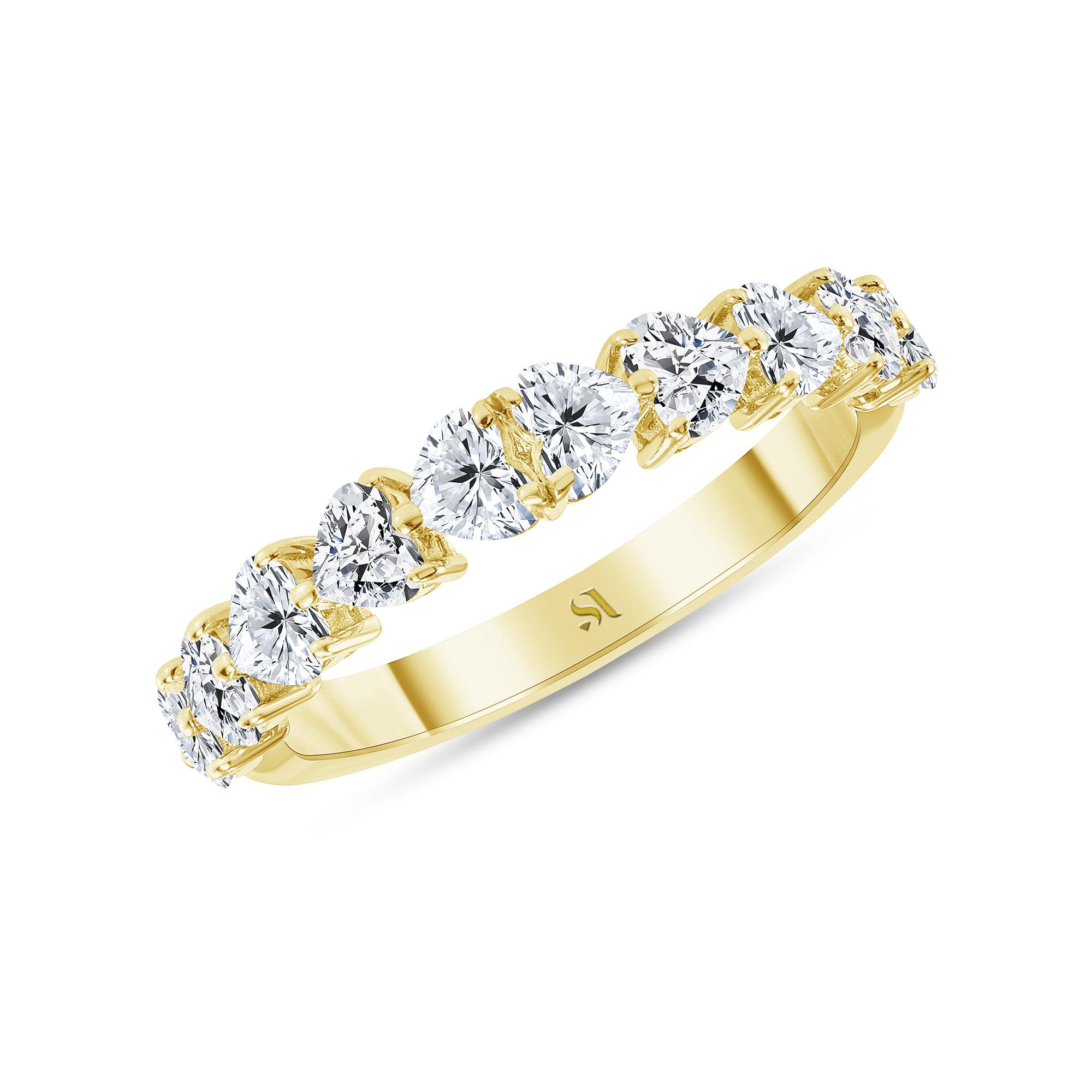 Half heart shaped diamond ring gold