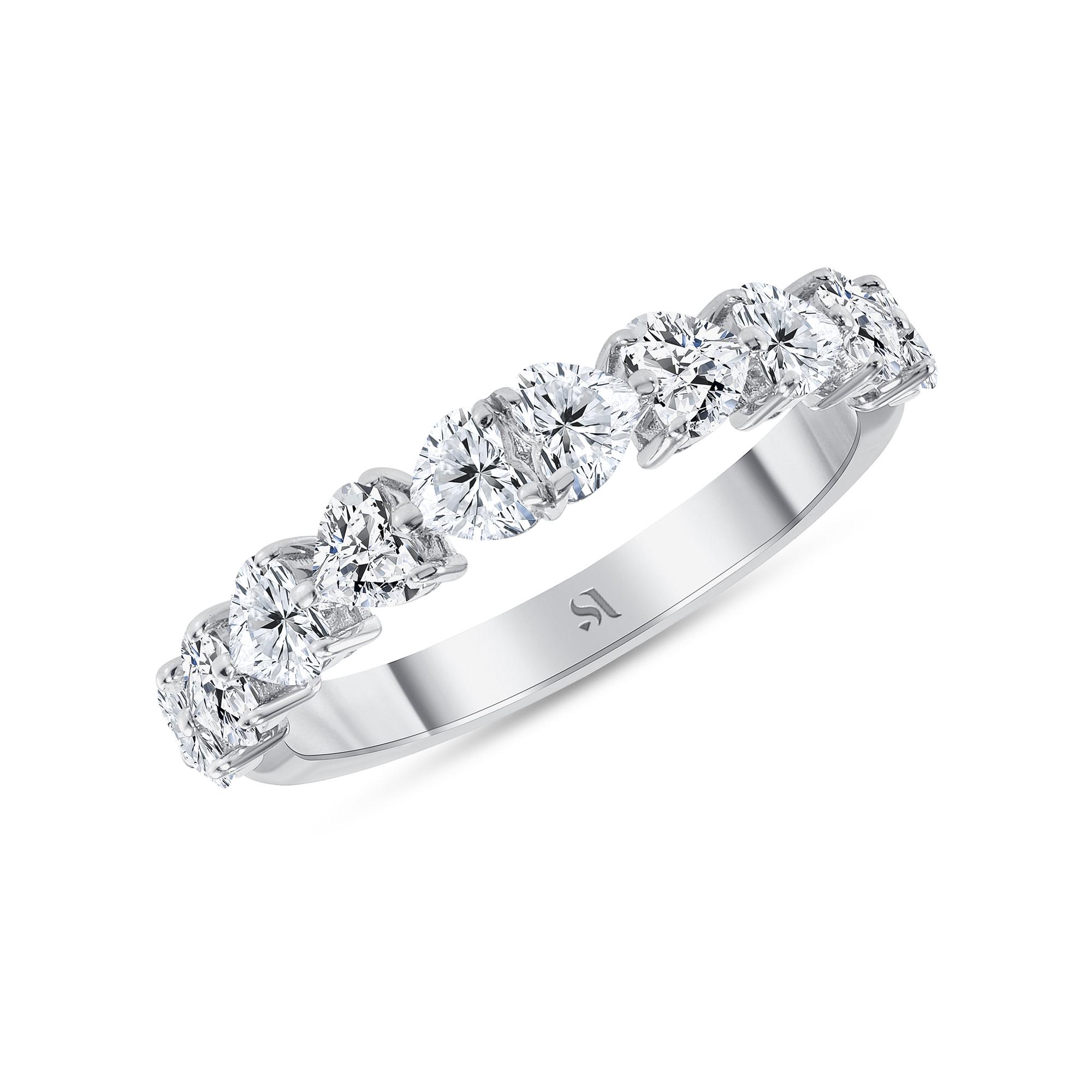 Half heart shaped diamond ring white gold