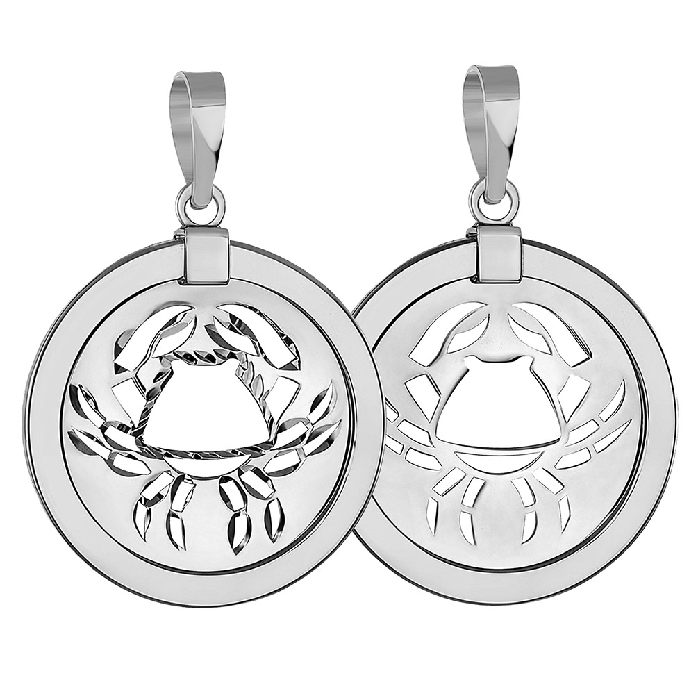 14k White Gold Round Cancer Zodiac Sign Crab Animal Medallion Pendant (Reversible)