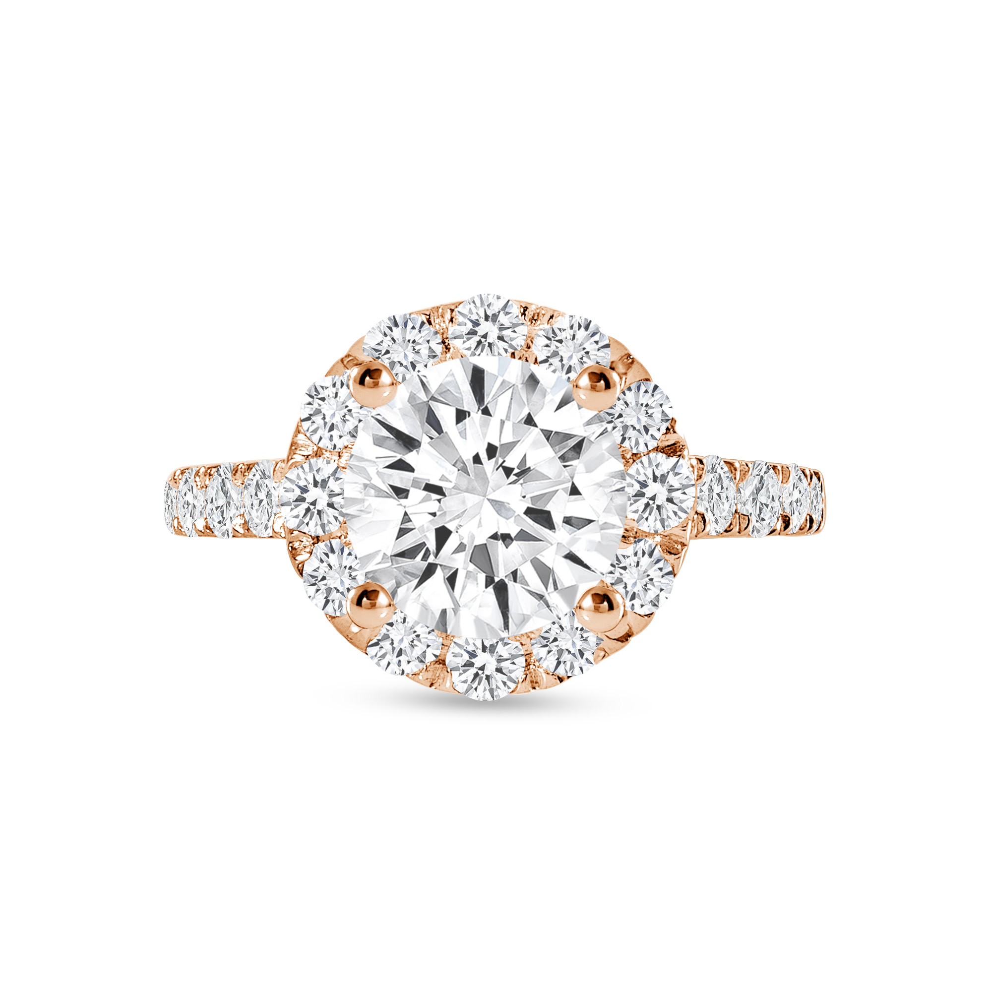 small round halo engagement ring