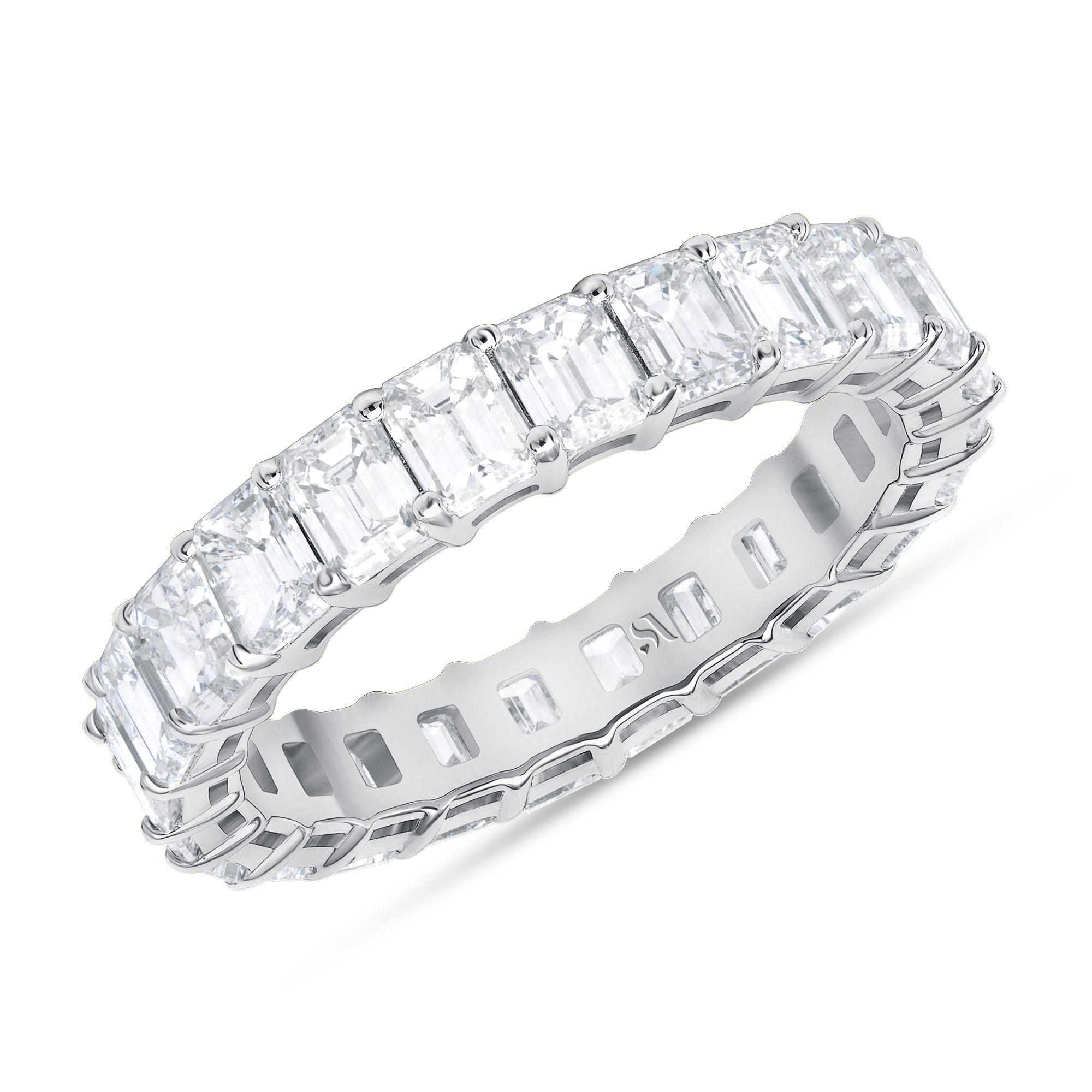 Diamond eternity cut band white gold