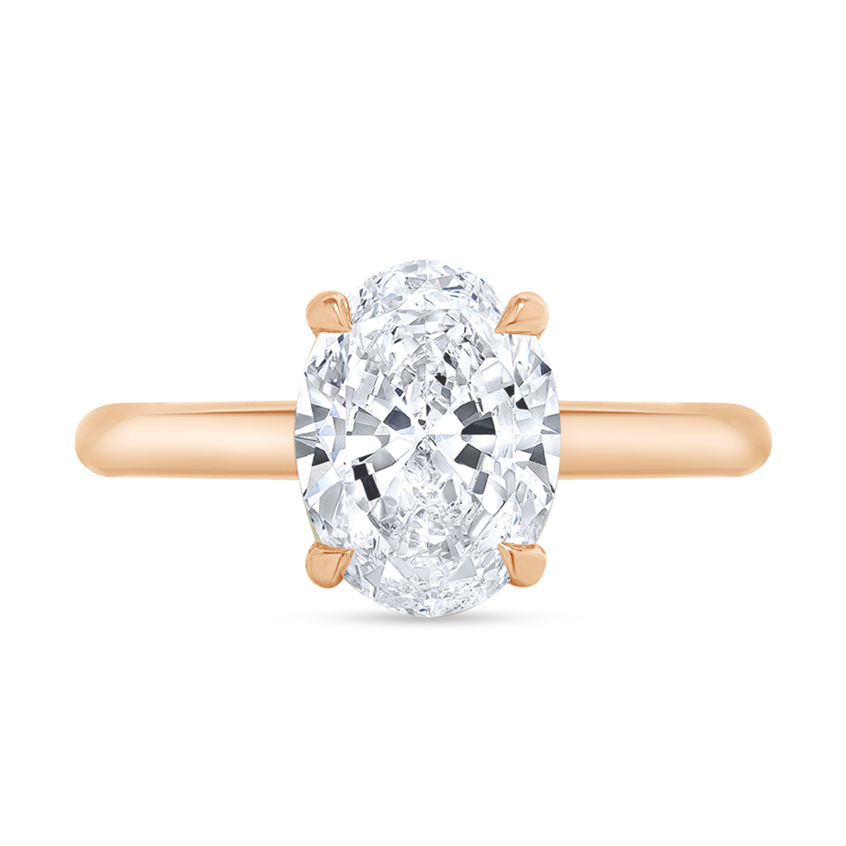 hidden halo oval engagement ring rose gold