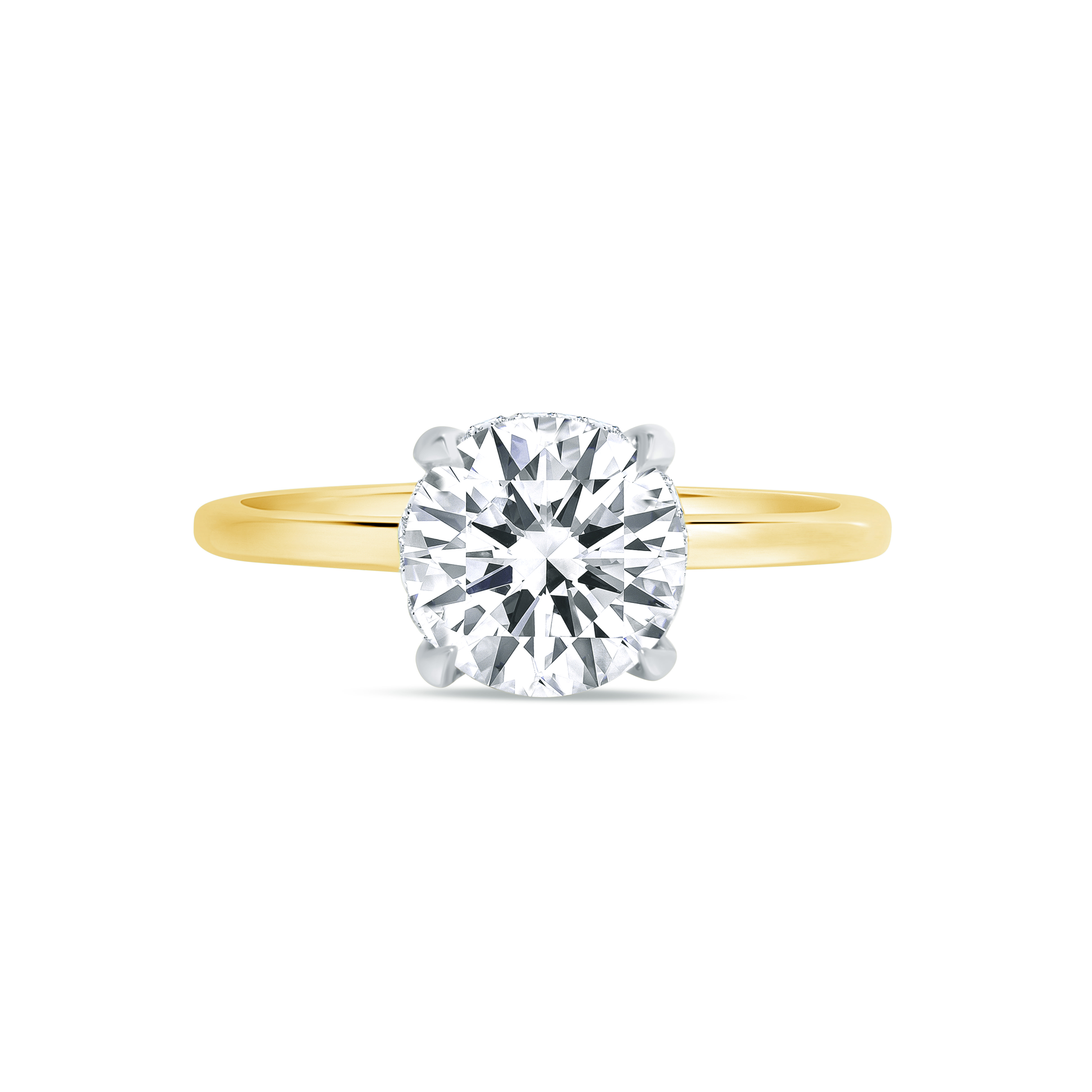 round hidden halo engagement ring yellow gold