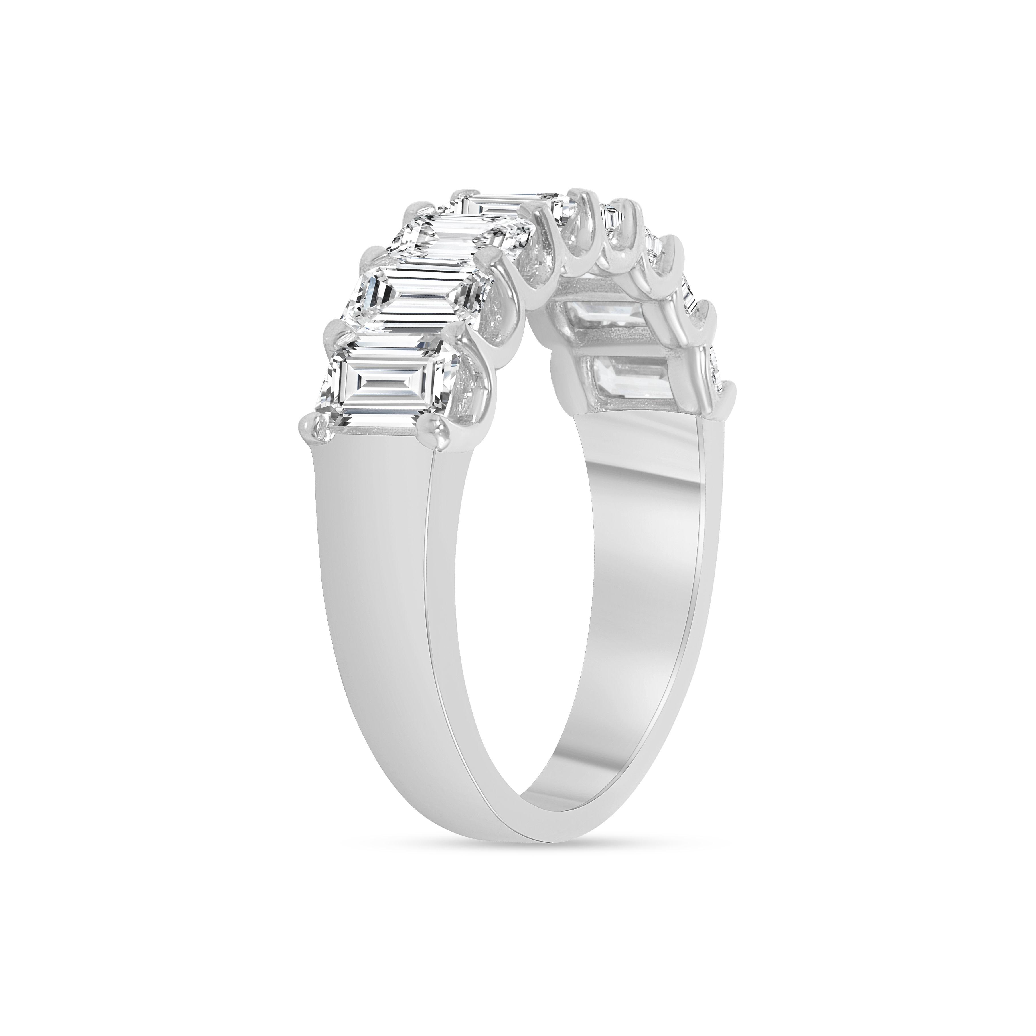 emerald cut half eternity band white gold