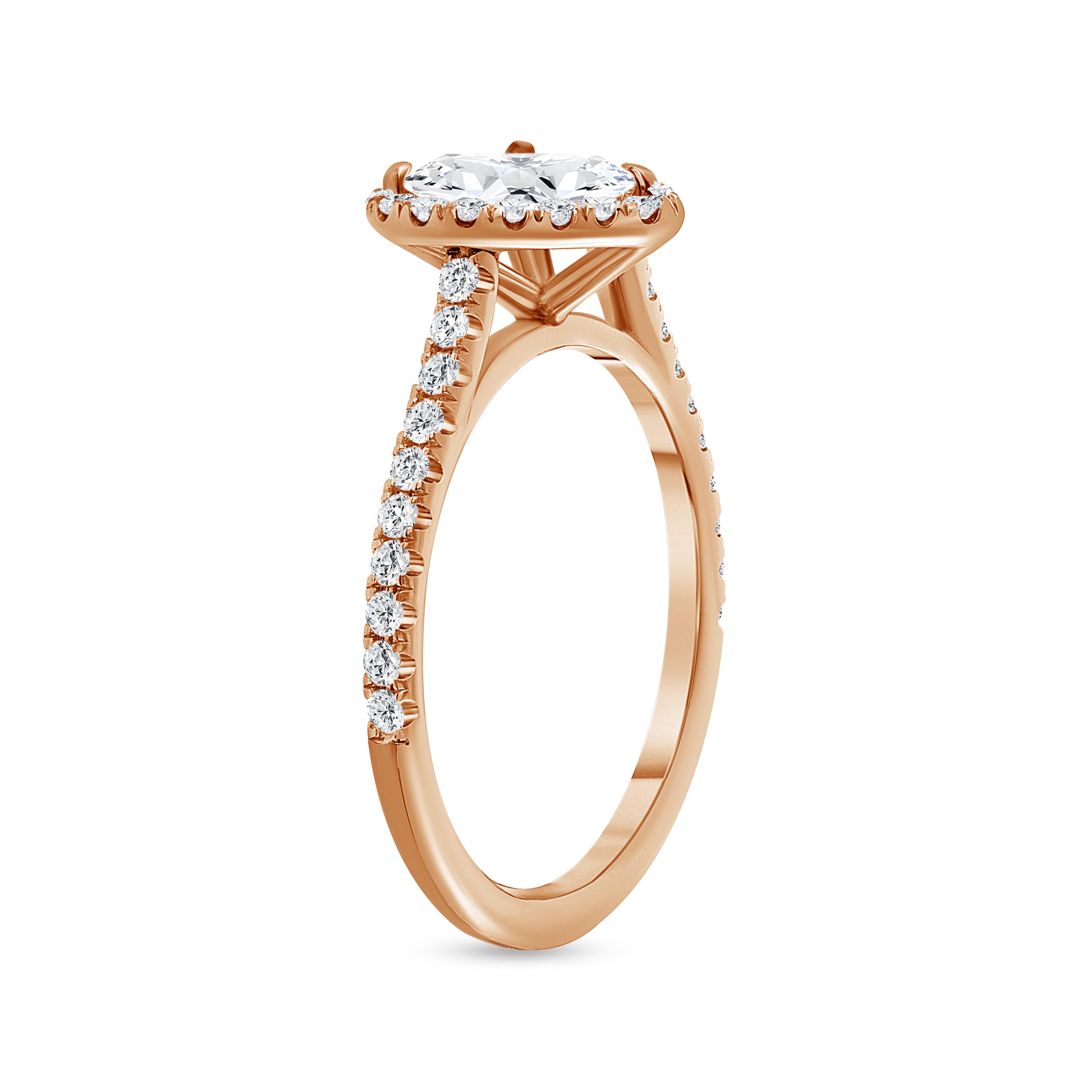 heart shaped & round diamond engagement ring rose gold