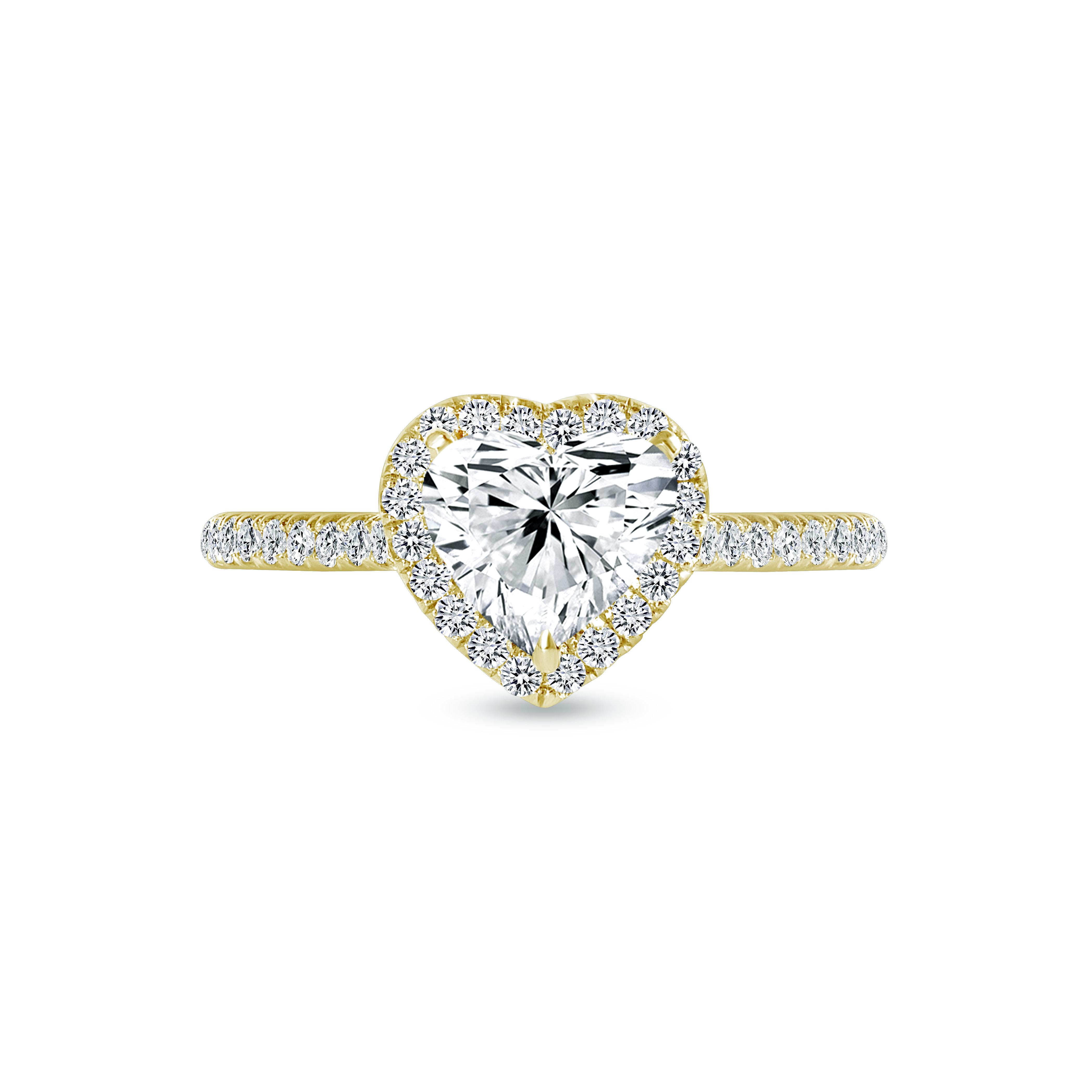 heart shaped & round diamond engagement ring yellow gold