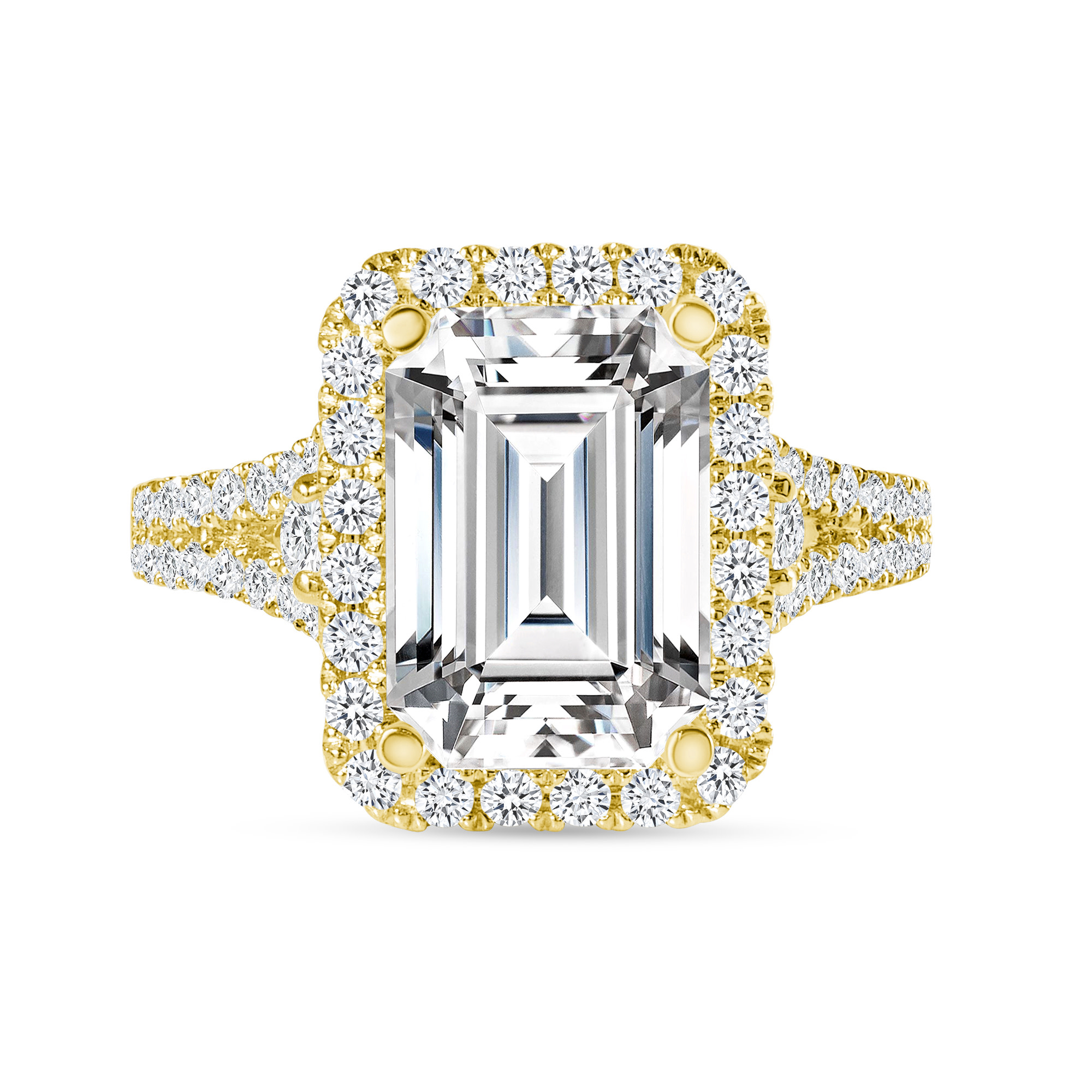 emerald & round diamond engagement ring yellow gold