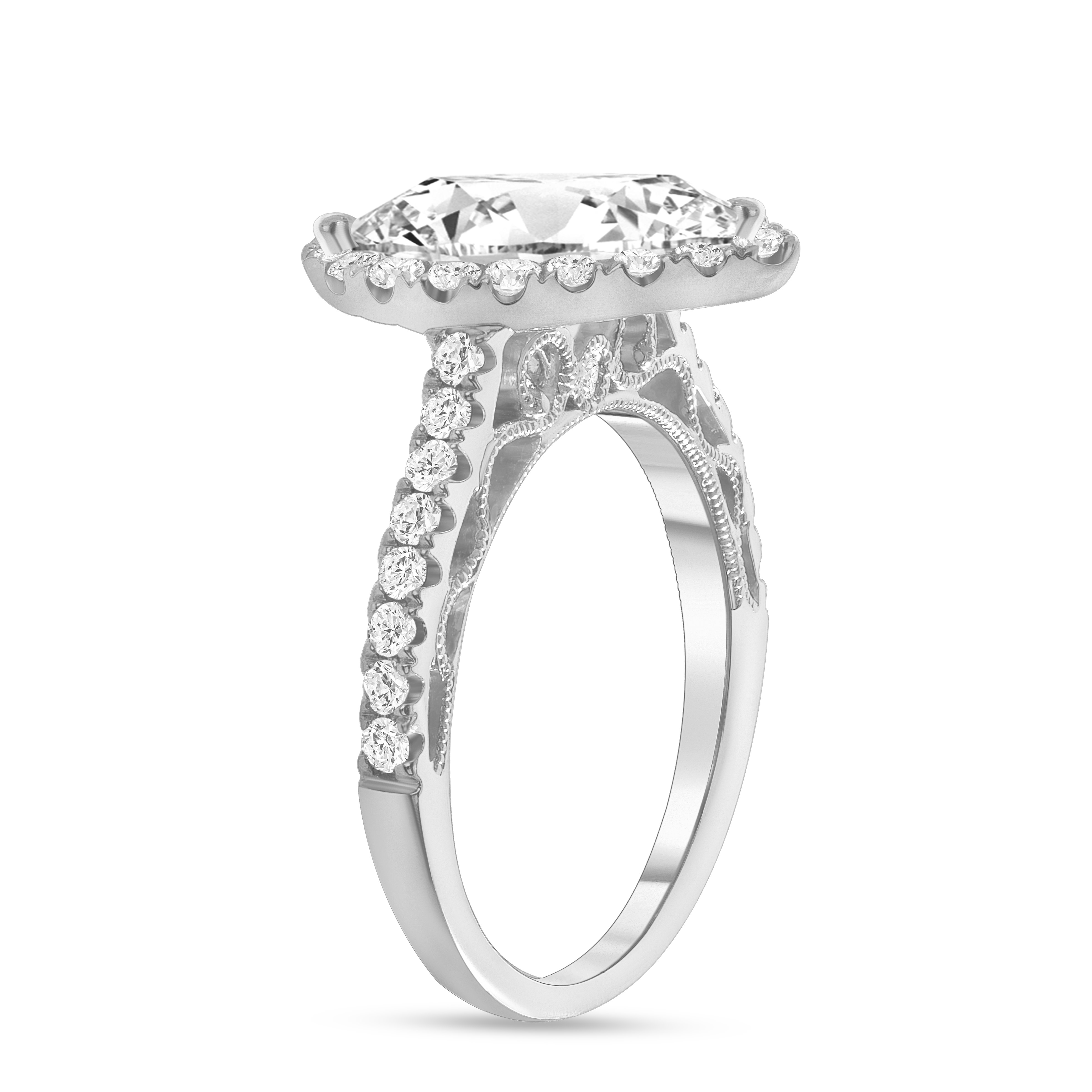 pear shaped & halo round diamond stackable engagement ring white gold