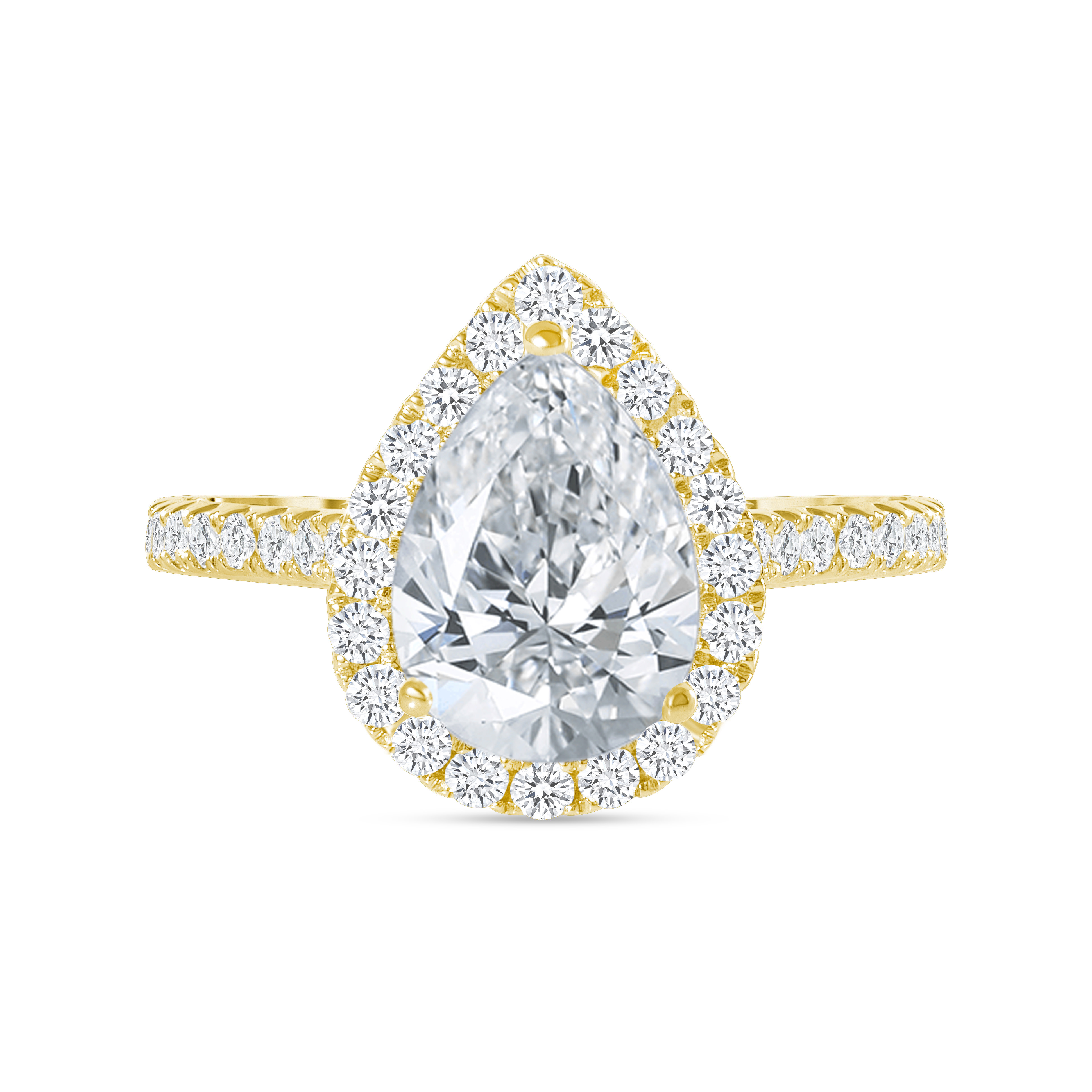 pear shaped & halo round diamond stackable engagement ring yellow gold