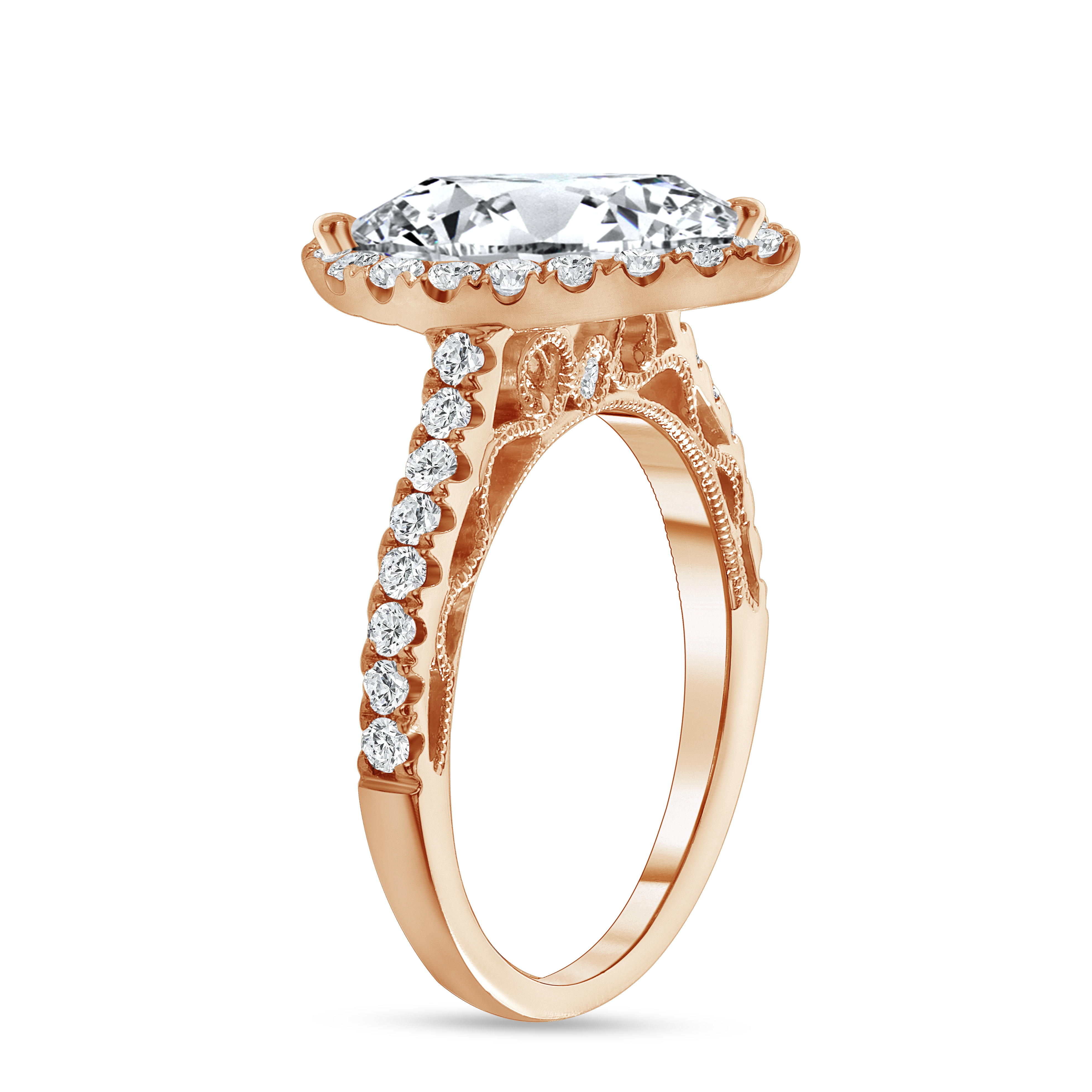 pear shaped & halo round diamond stackable engagement ring rose gold