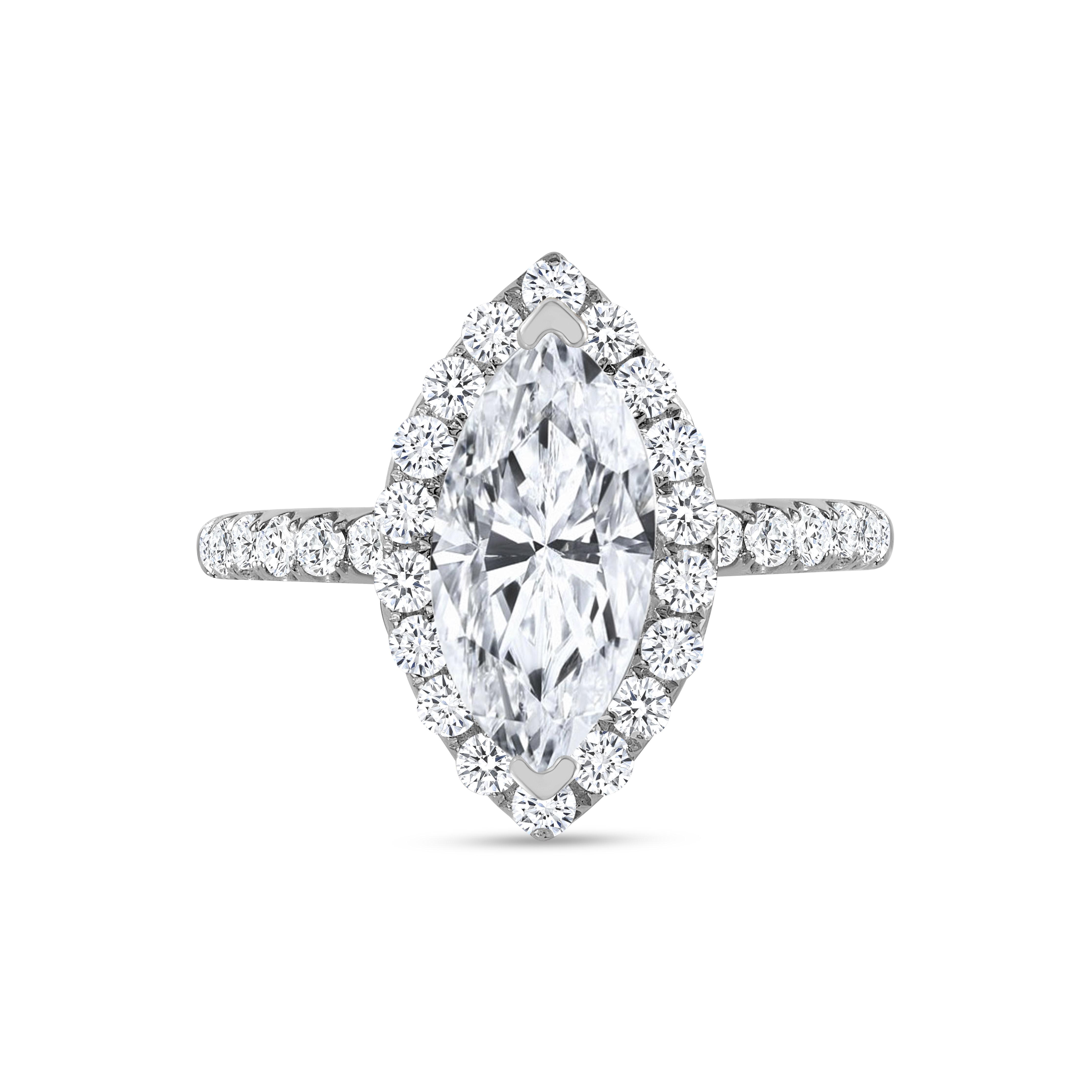 marquise & halo round diamond engagement ring white gold