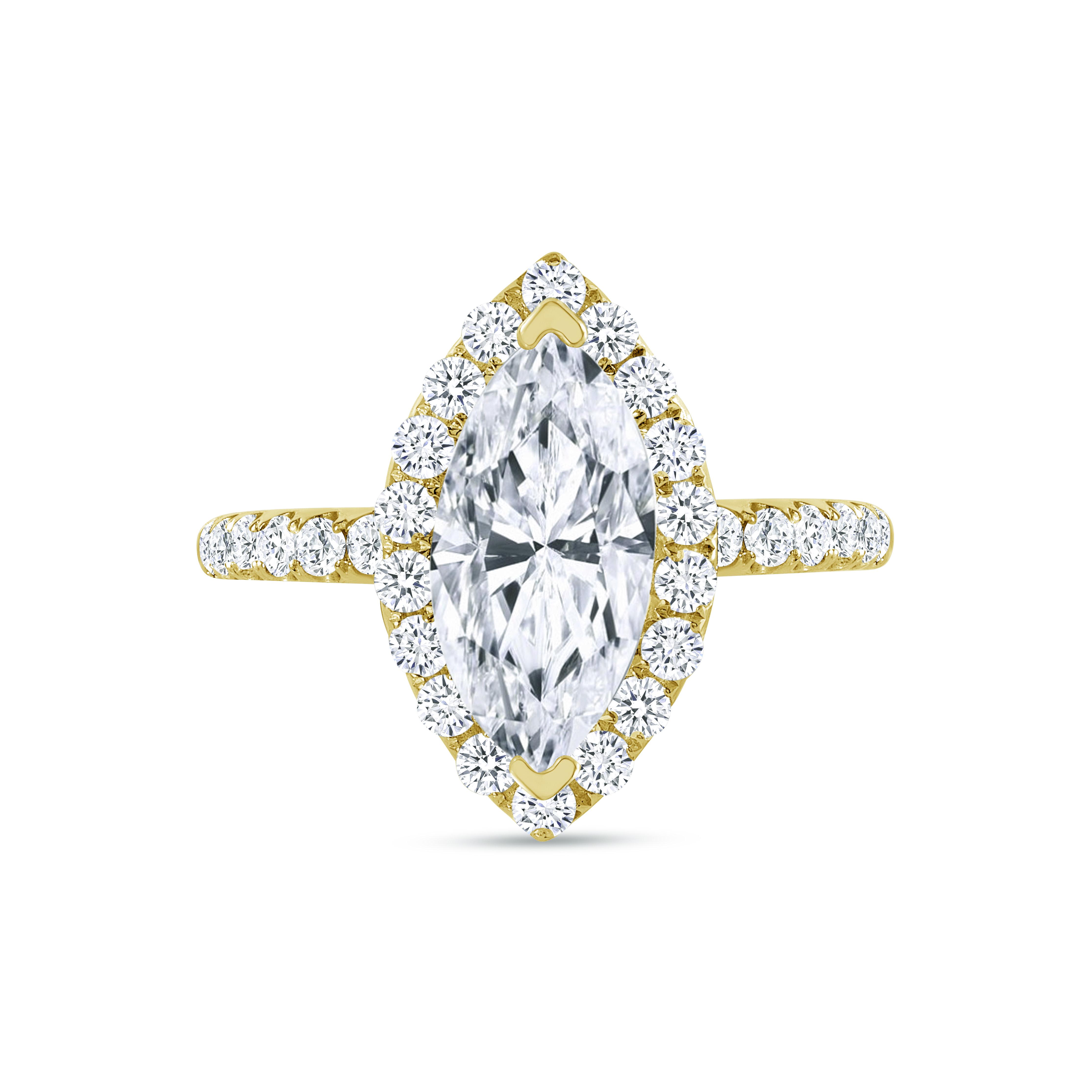 marquise & halo round diamond engagement ring yellow gold