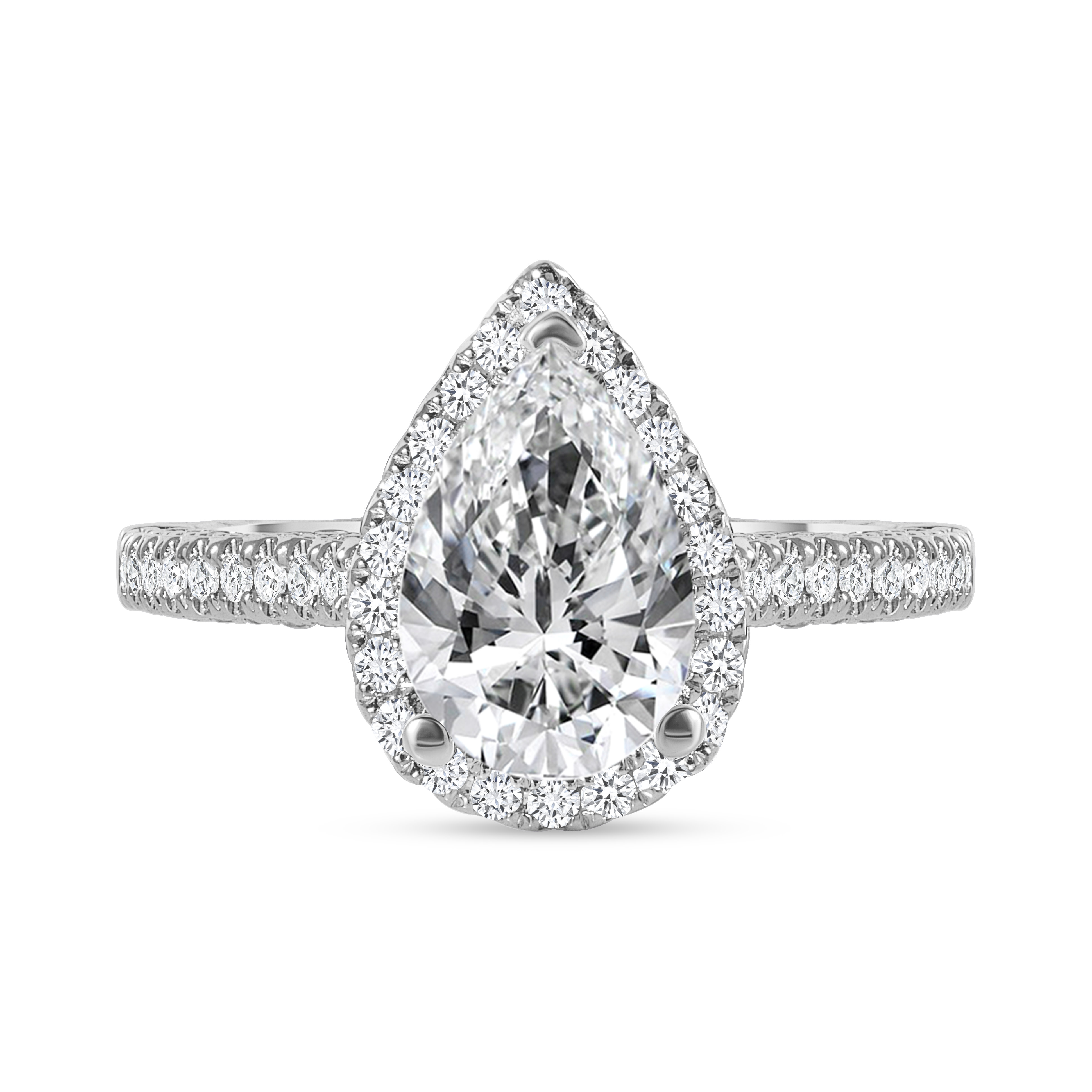 large pear shaped & small round diamond engagement ring white gold