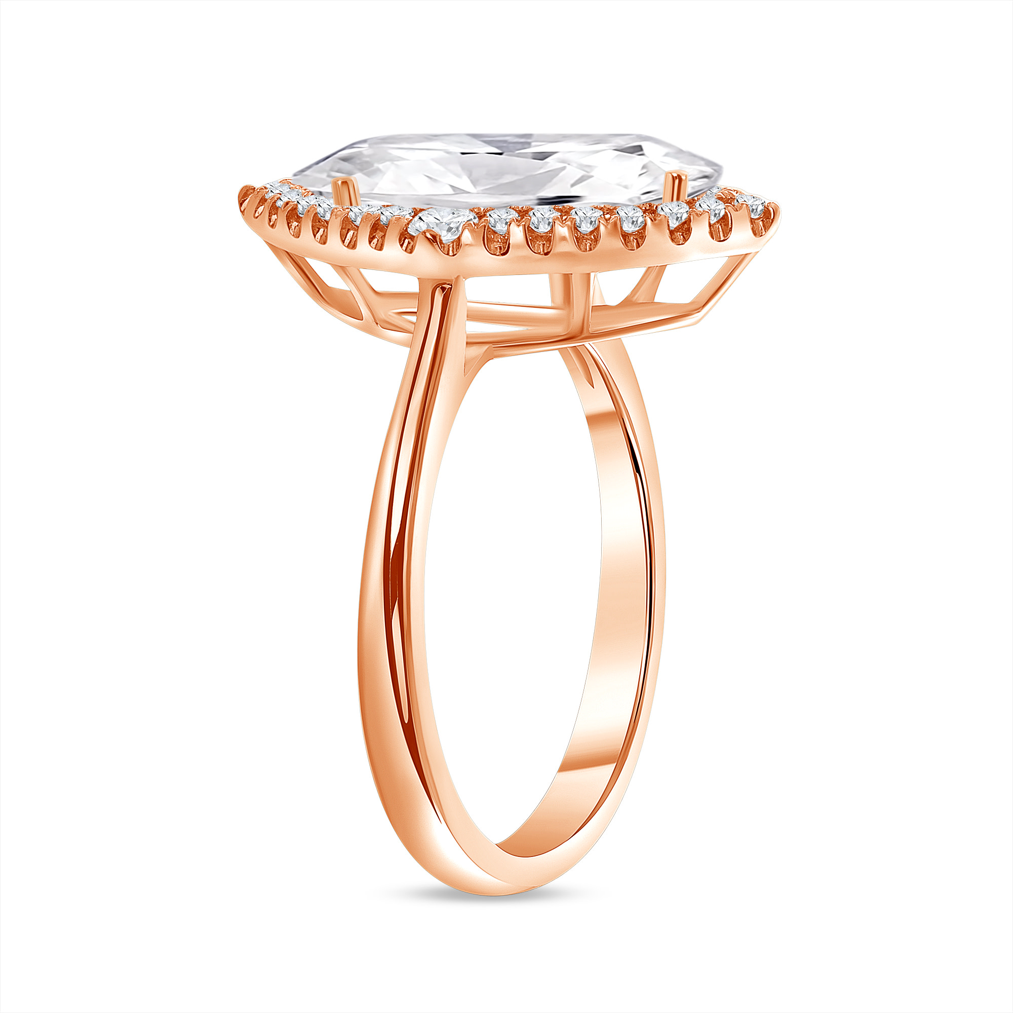 marquise big & small halo round diamond engagement ring rose gold