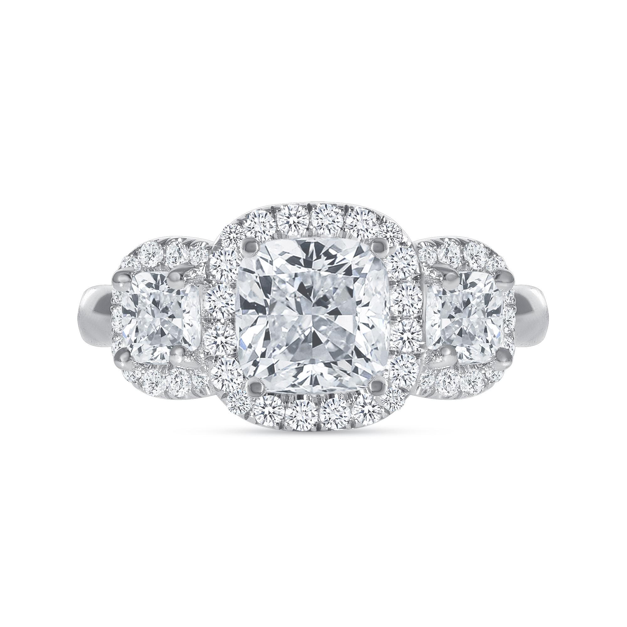 cushion shaped diamond engagement ring white gold