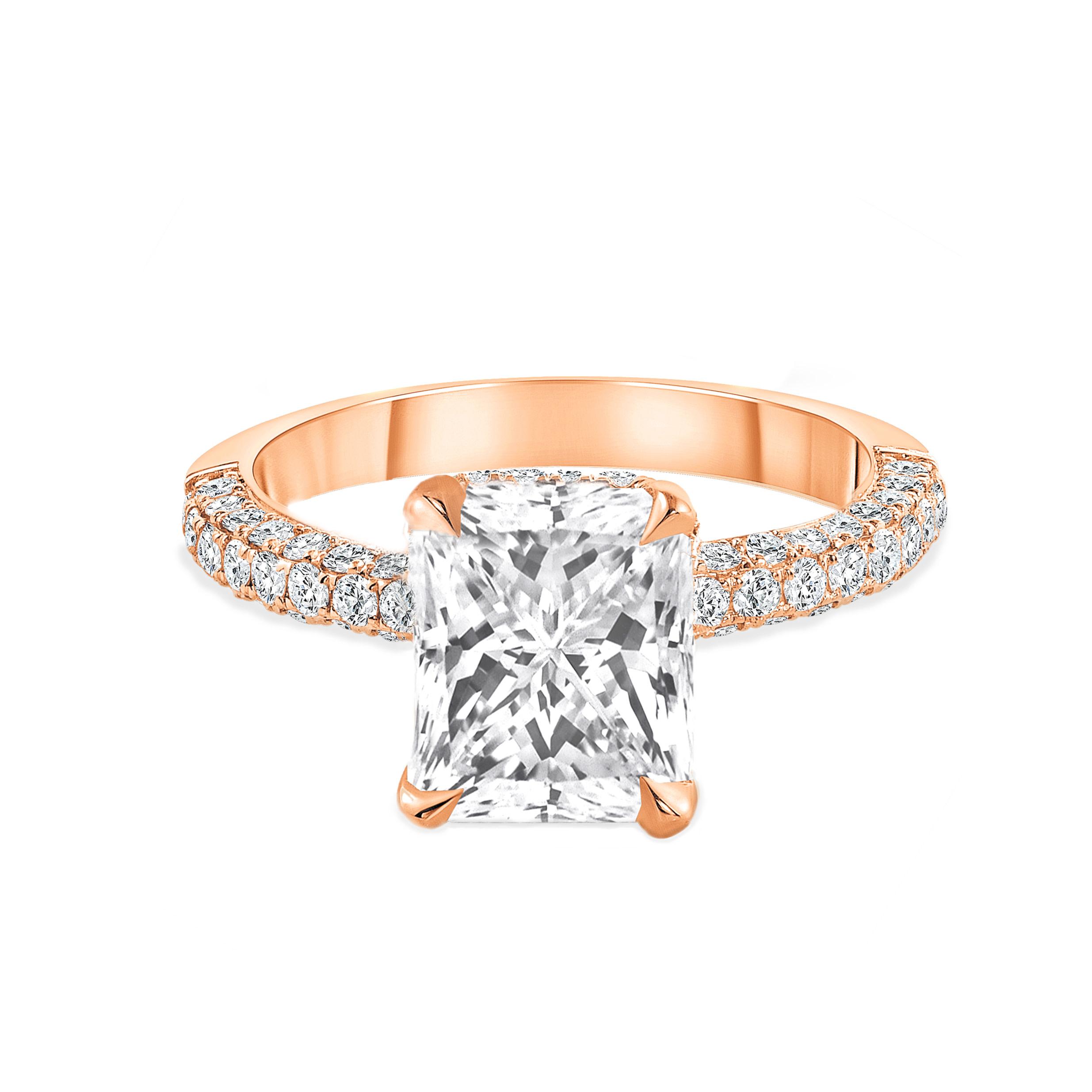 radiant cut diamond engagement ring rose gold
