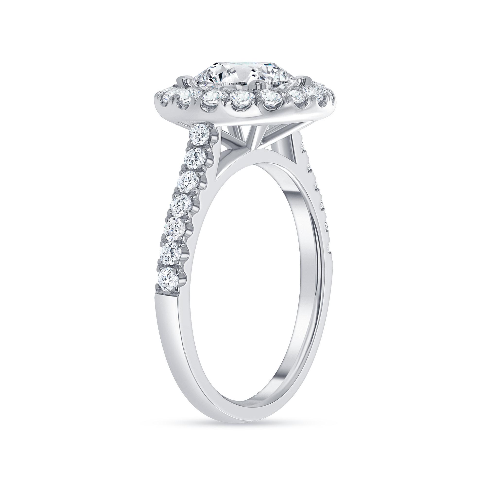classic halo round diamond engagement ring white gold