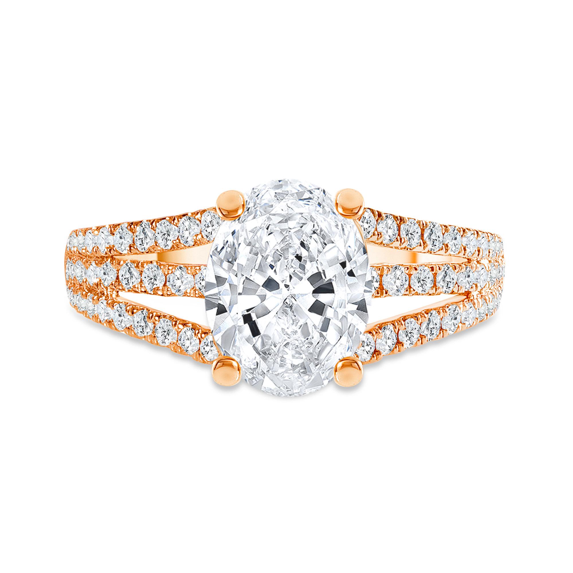 three row engagement ring rose gold