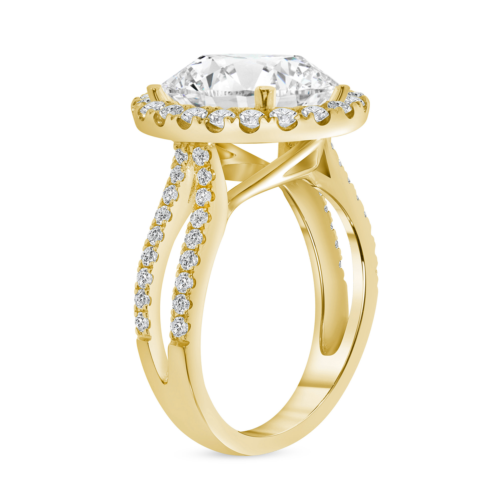 double row oval diamond halo engagement ring yellow gold