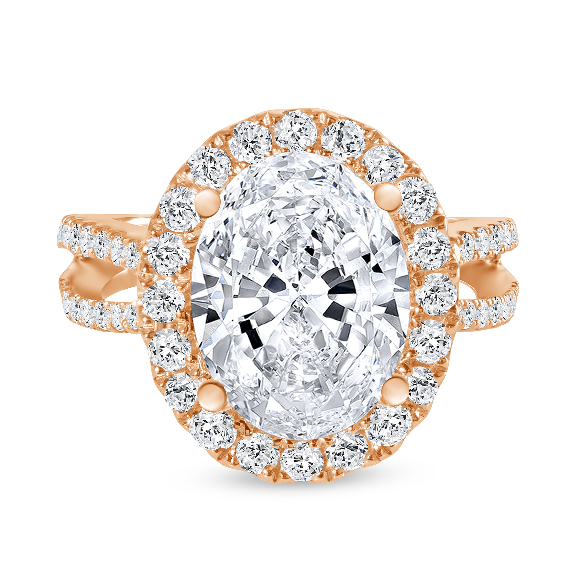 double row oval diamond halo engagement ring rose gold