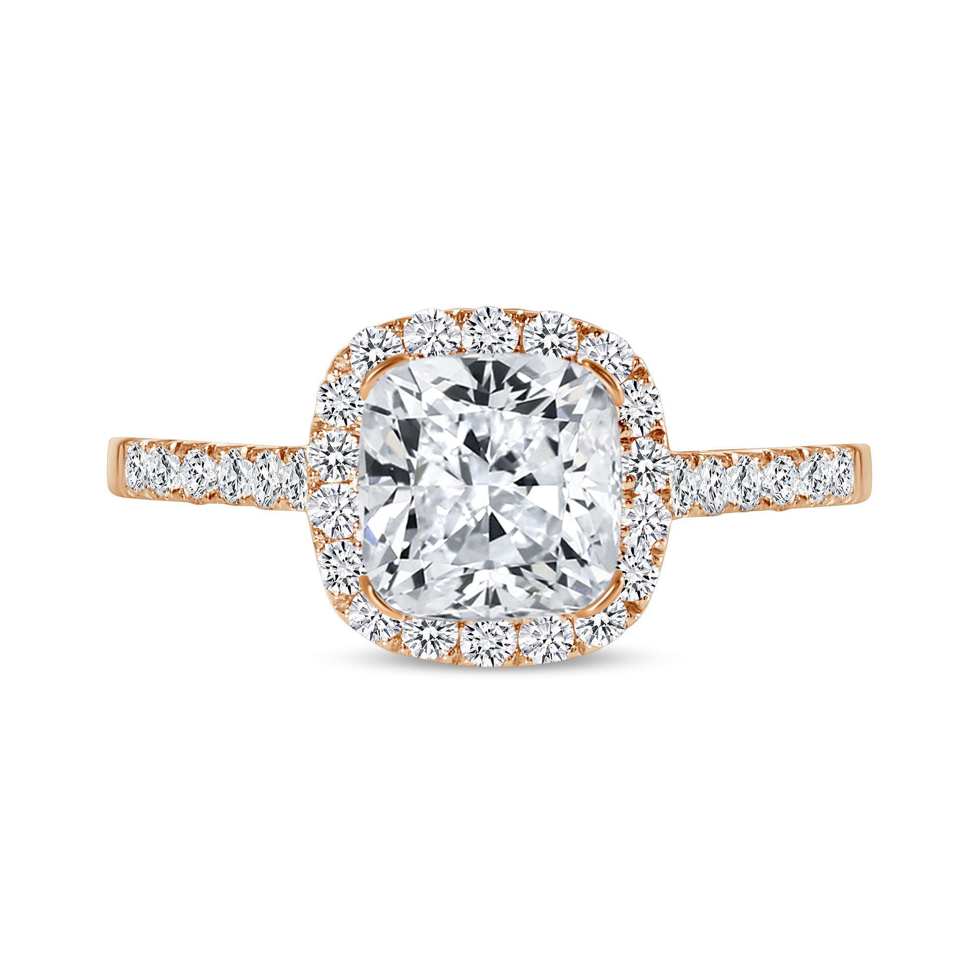 cushion cut diamond halo engagement ring rose gold