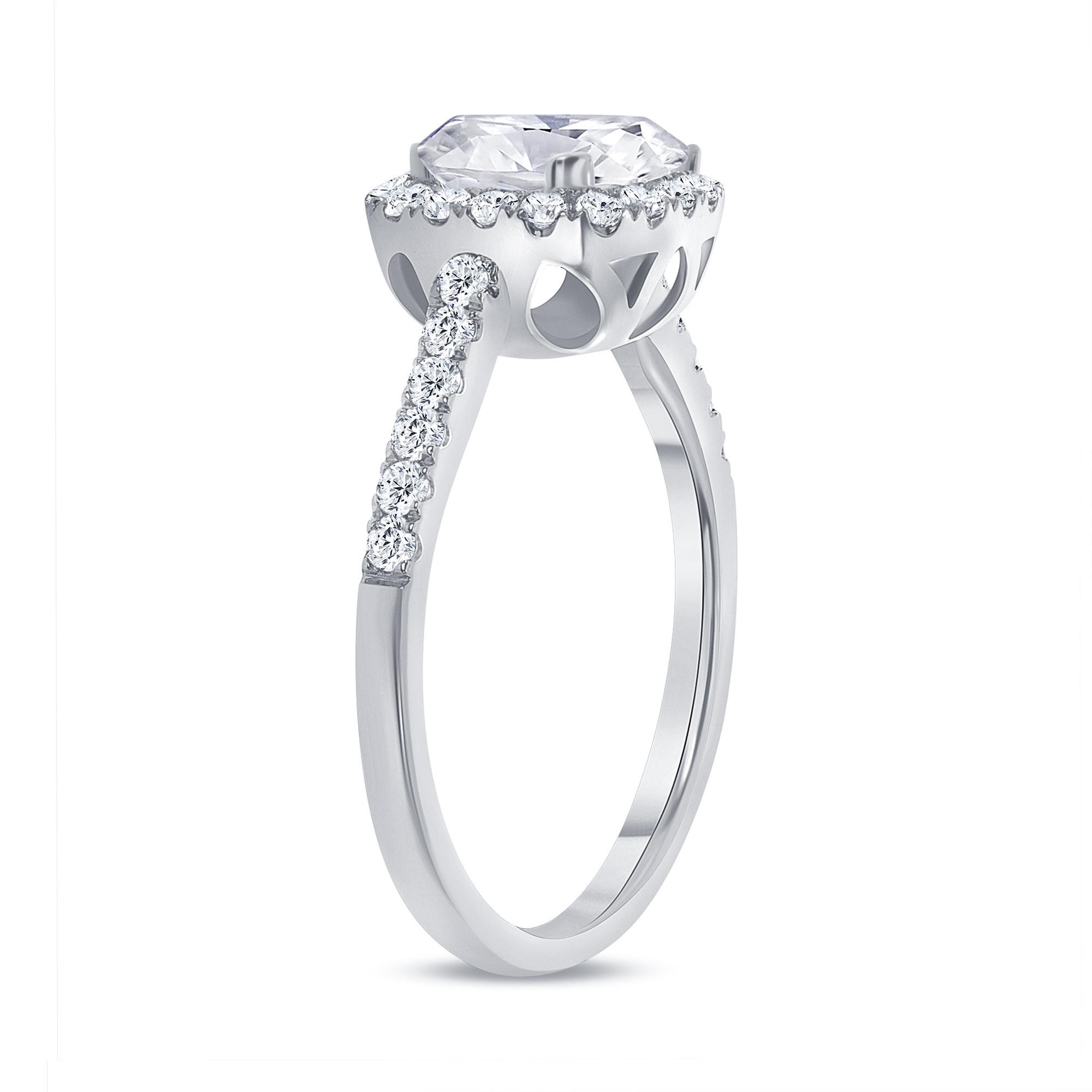 cushion cut diamond halo engagement ring white gold