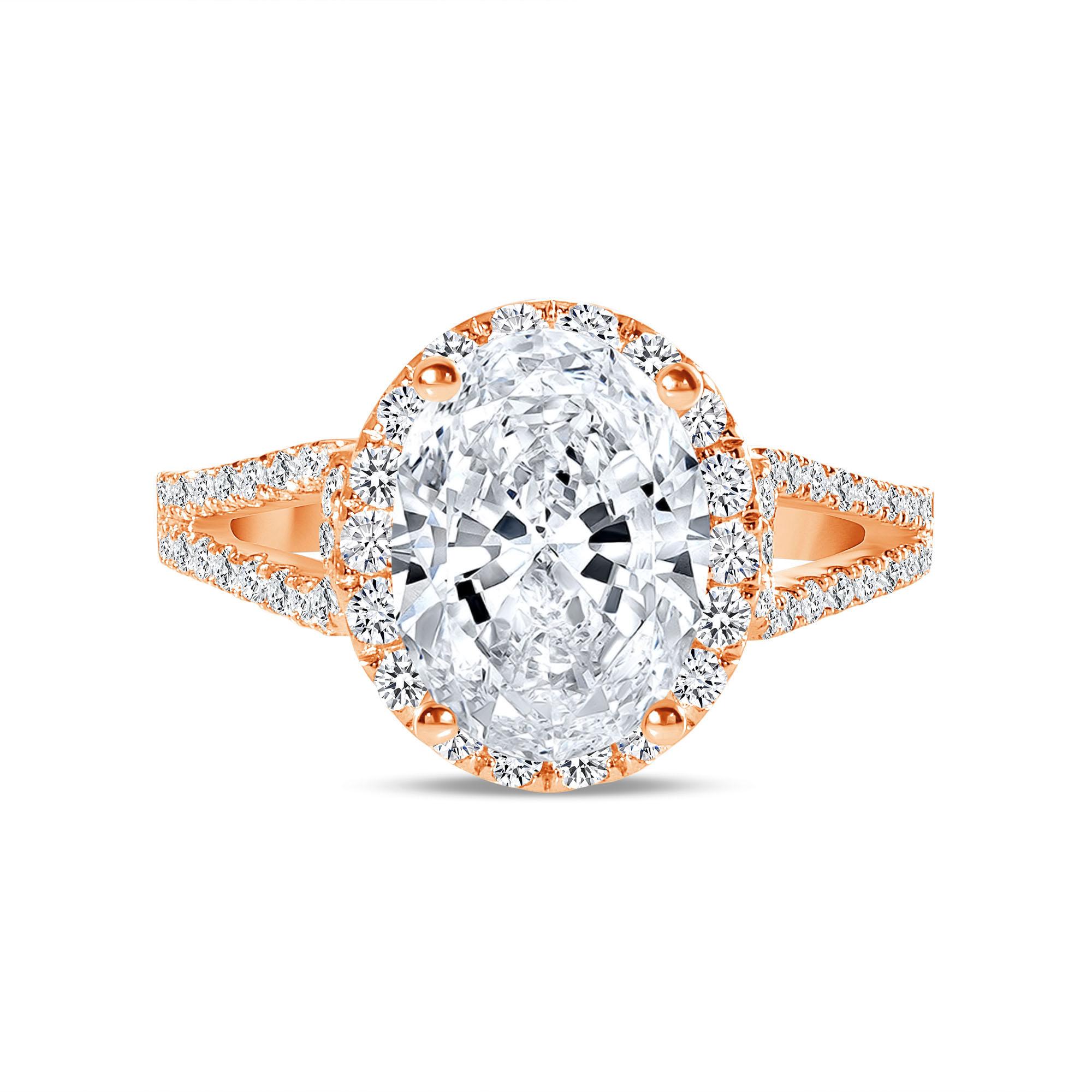 oval diamond halo split shank engagement ring rose gold