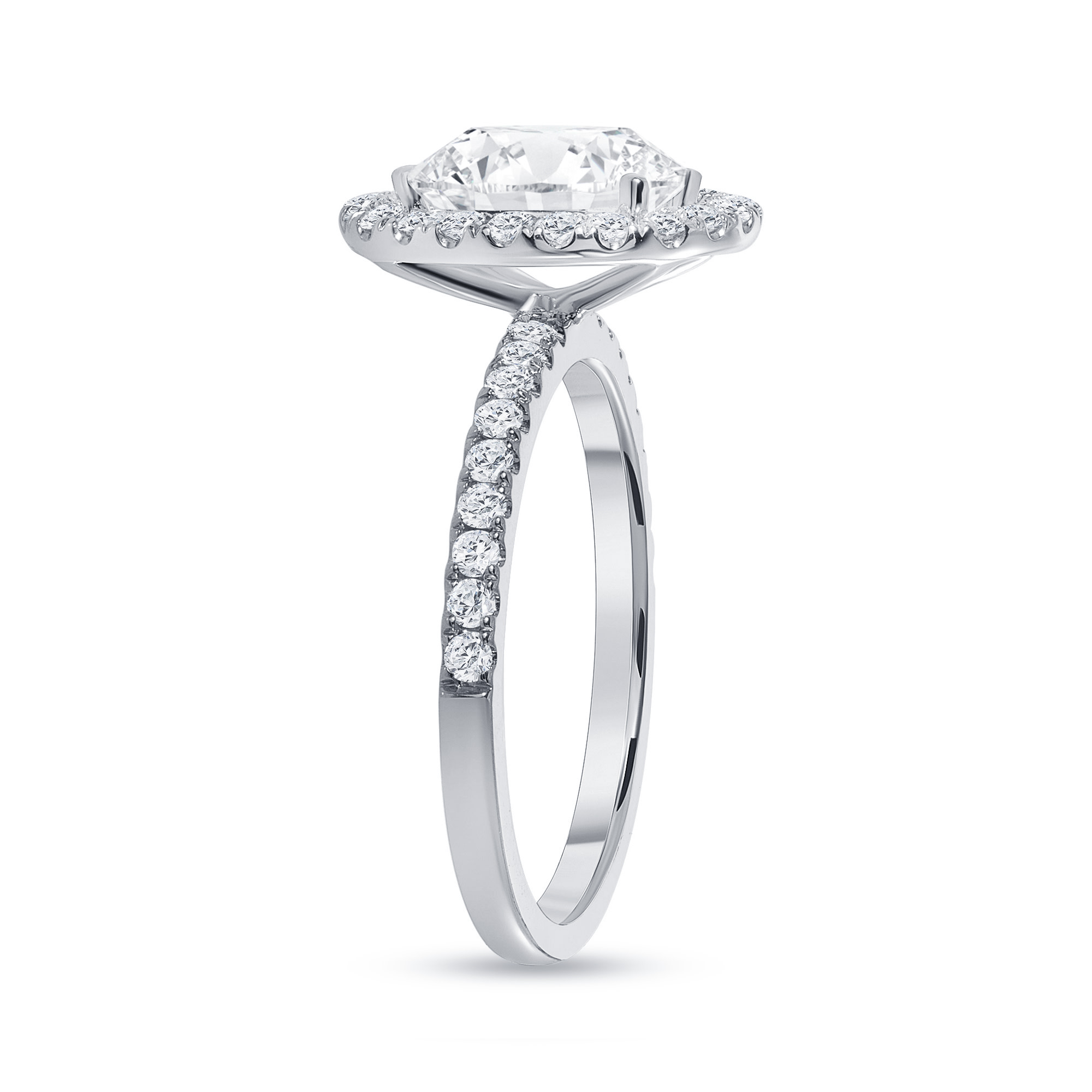 small halo engagement ring white gold
