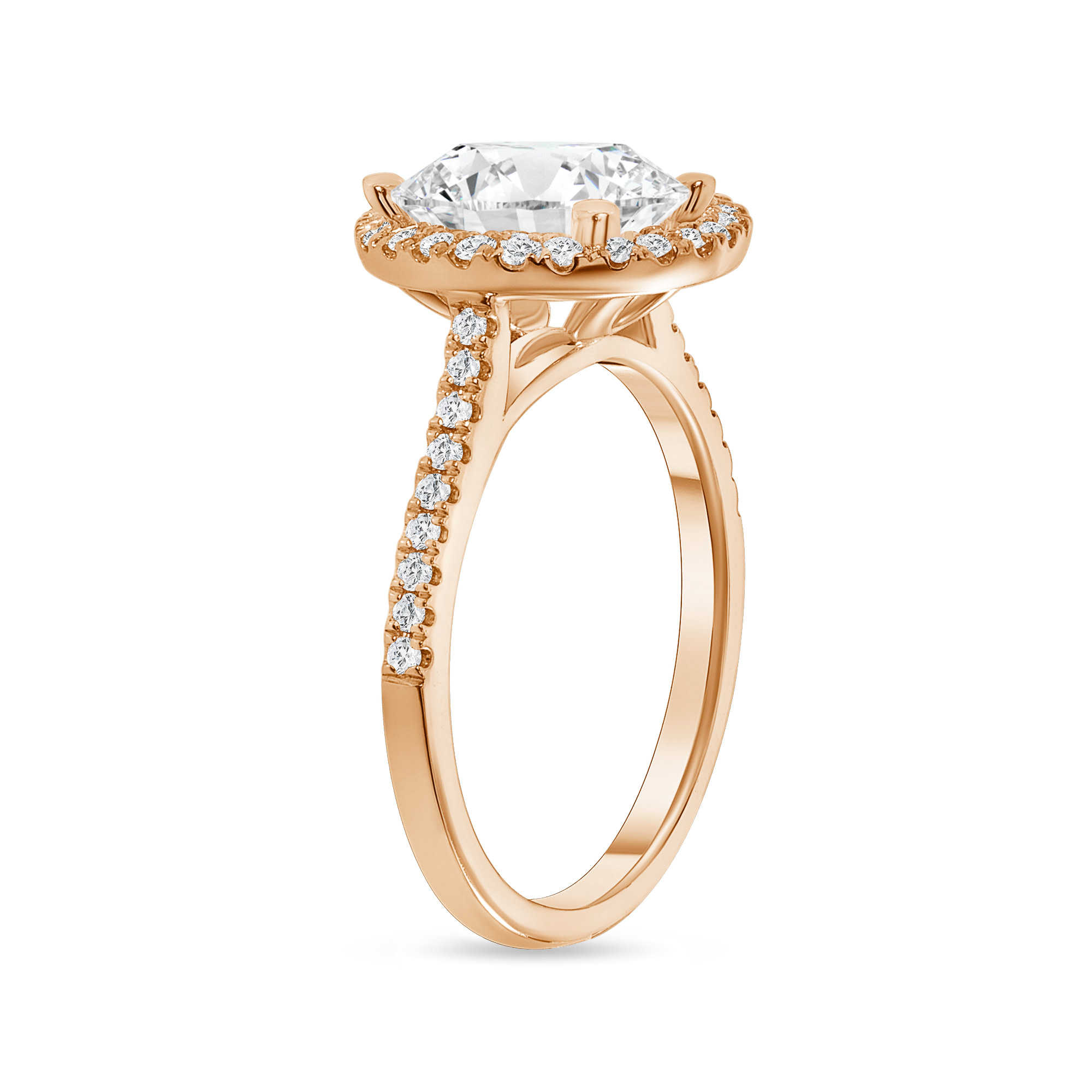 oval cut diamond halo engagement ring with prongs rose gold