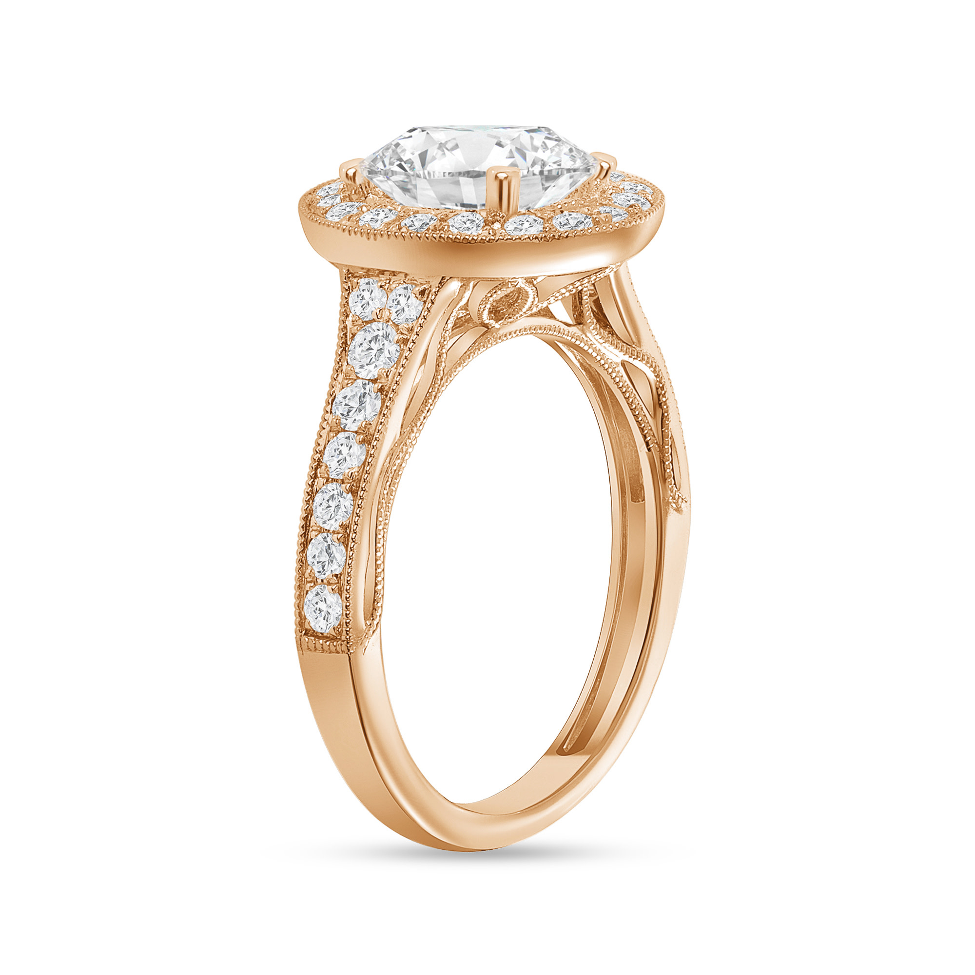 oval diamond halo milgrain engagement ring rose gold