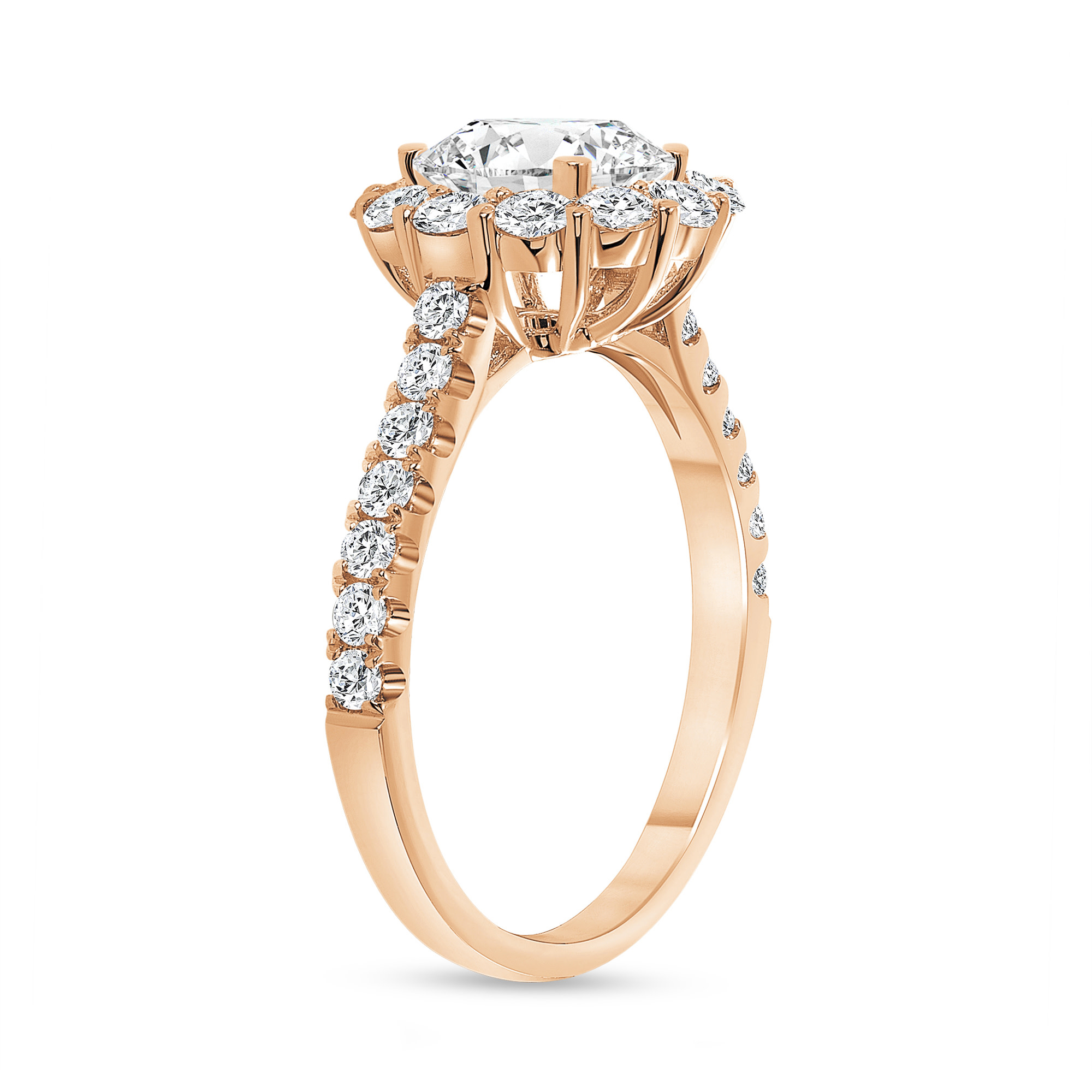 stackable halo round diamond engagement ring rose gold